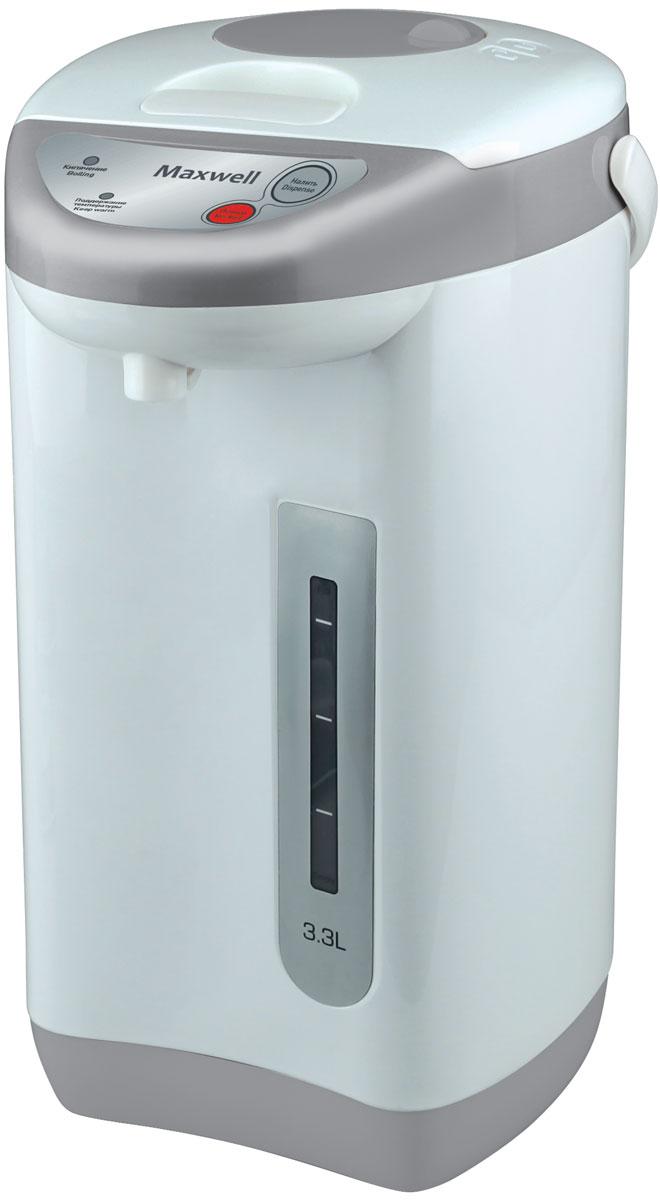 Maxwell MW-1056(GY) термопотMW-1056(GY)Для того чтобы пить горячий чай или кофе на протяжении всего дня, вам больше не потребуется пользоваться чайником, включая его ежечасно. Достаточно приобрести вместительный термопот Maxwell MW-1056! Он характеризуется большим объемом резервуара для воды 3,3литра, наличием функции поддержания температуры, удобной и безопасной системой налива кипятка.Термопот включается нажатием одной кнопки, при этом степень нагрева воды вы можете отрегулировать самостоятельно, выбрав один из нескольких предлагаемых температурных режимов. Прибор автоматически отключаются, когда вода нагревается до нужной температуры, что исключает необходимость постоянного пребывания рядом с техникой. Налить горячую воду в чашку очень просто, для чего в Maxwell MW-1056 встроен насос. Нажав на специальную кнопку, вода из резервуара потечет автоматически в подставленную чашку. Контролировать количество воды вы можете при помощи специальной прозрачной шкалы с метками, которая всегда вам подскажет, когда необходимо долить воду в резервуар.Maxwell MW-1056 исключает необходимость постоянного подогрева воды, когда вам захочется выпить чашечку чая. Функция сохранения высокой температуры кипяченной воды в течение суток позволяет вам в любое время наслаждаться горячими напитками, не тратя электроэнергию при включении устройства.