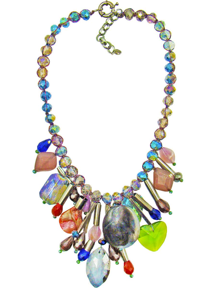 Колье Taya, цвет: синий, серый, лиловый. T-B-10321Бусы-ниткаКолье Taya станет прекрасным дополнением к вашему наряду. Основу колье составляют стеклянные переливающиеся разными цветами бусины в оплетке из шелковой прочной нити. В центре украшения свисают подвески-столбики из металла со стразами каплевидной формы, искусственные камни и различной формы кристаллы. Модель застегивается на шпрингельную застежку, длина регулируется за счет дополнительных звеньев.Такое украшение поможет эффектно завершить образ, а также подчеркнет вашу индивидуальность.
