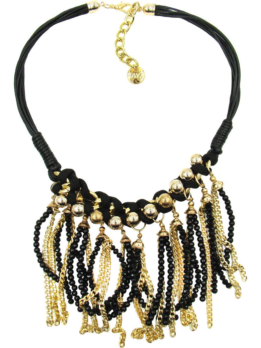 Колье Taya, цвет: черный, золотистый. T-B-9533Ожерелье (короткие многоярусные бусы)Стильное колье Taya изготовлено из ювелирного сплава на основе латуни.Основой украшения являются шнурки из искусственной кожи. Центральная часть колье выполнена из цепи с крупными звеньями, переплетенными текстильным шнурком, который по цвету контрастирует с золотистой основой и придает украшению оригинальность. К основе колье крепятся золотые цепочки разной фактуры и плетения, а между ними поблескивают нити стеклянных черных бусин. Длина колье регулируется.Колье модного дизайна поможет создать уникальный и запоминающийся образ, а также подчеркнет вашу индивидуальность.