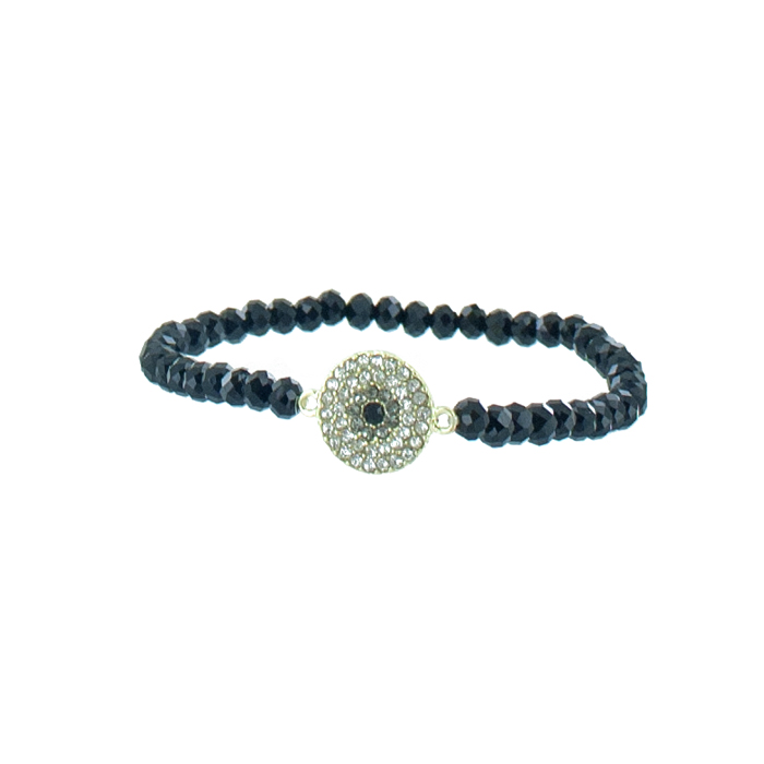 Браслет Taya, цвет: золотистый, черный. T-B-5533Глидерный браслетИзящный браслет Taya, изготовленный из гипоаллергенного материала, выполнен на эластичной основе из граненных стеклянных бусин и дополнен декоративным металлическим элементом круглой формы, инкрустированным стразами. Такой оригинальный браслет не оставит равнодушной ни одну любительницу изысканных и необычных украшений, а также позволит с легкостью воплотить самую смелую фантазию и создать собственный, неповторимый образ.
