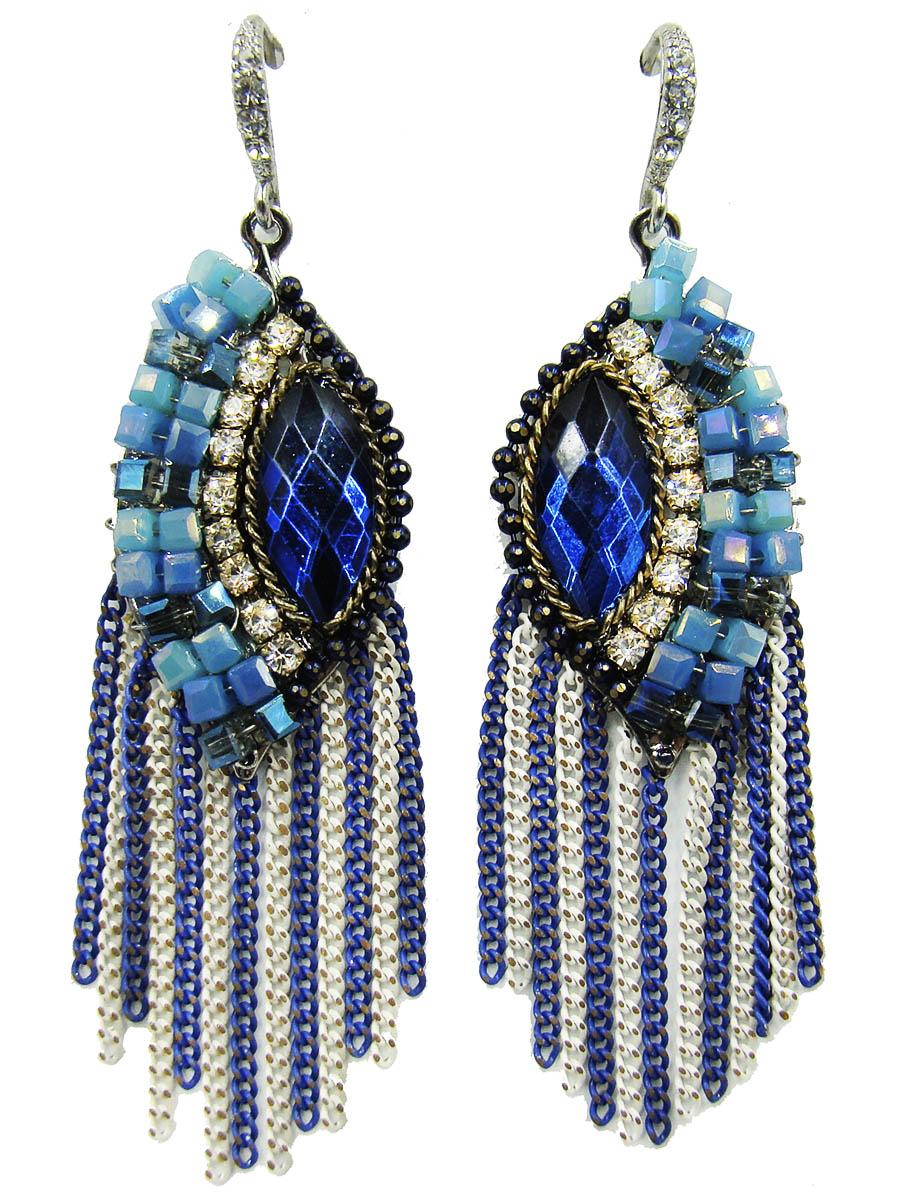 Серьги Taya, цвет: синий, голубой, белый. T-B-9084Серьги с подвескамиОригинальные серьги Taya выполнены из ювелирного сплава. Изделия оформлены стразами, вставками из стекла и бусинами. Серьги дополнены подвесками-цепочками. Изделия выполнены в стилистике флорентийской мозаики. Все элементы украшения соединены и вместе создают картину. Застегиваются серьги на замок-петлю.Оригинальные серьги модного дизайна создадут яркий и запоминающийся образ.