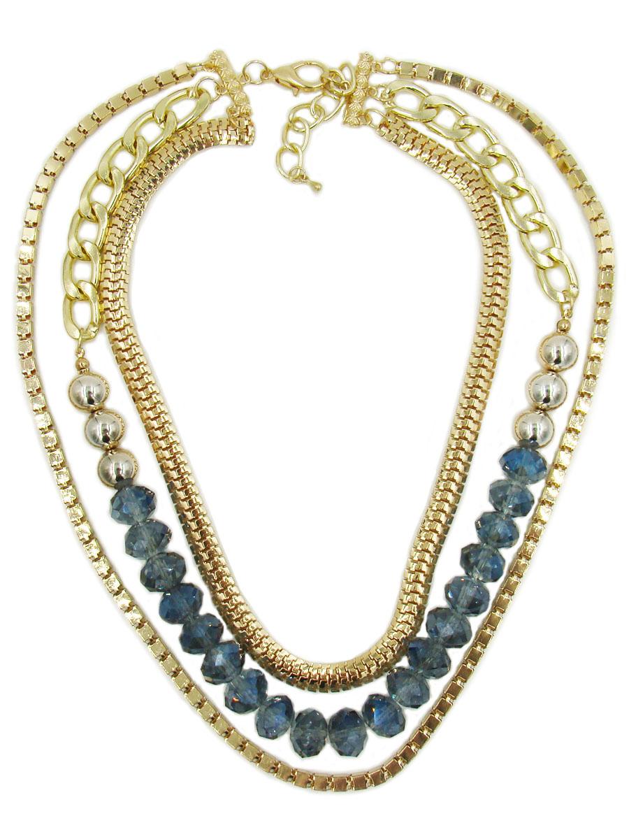 Колье Taya, цвет: золотистый, синий. T-B-9034Ожерелье (короткие многоярусные бусы)Колье Taya изготовлено из ювелирного сплава с гальваническим покрытием. Такая методика обеспечивает отличное качество изделий и позволяет сохранить красоту украшений надолго. На специальные золотистые пластины с выделкой прикреплены цепи разной длины и плетения. Цепь средней длины с крупными звеньями дополнена бусинами из пластика и стекла. Изделие застегивается при помощи замка-карабина. Длина колье регулируется.Колье модного дизайна поможет создать уникальный и запоминающийся образ, а также подчеркнет вашу индивидуальность.