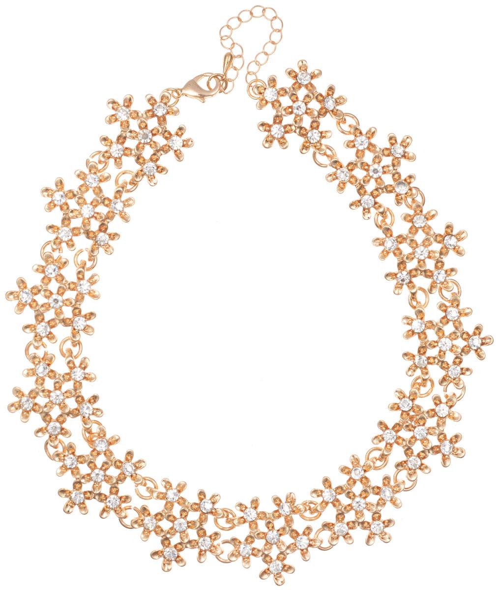 Ожерелье Taya, цвет: золотистый. T-BОжерелье (короткие многоярусные бусы)Элегантное ожерелье Taya, выполнено из бижутерийного сплава. Изделие состоит из элементов в форме цветков, скрепленных между собой и дополненных вставками из стеклянных стразов.Ожерелье застегивается на практичный замок-карабин, длина регулируется за счет дополнительных звеньев.Стильное ожерелье придаст вашему образу изюминку, подчеркнет индивидуальность.