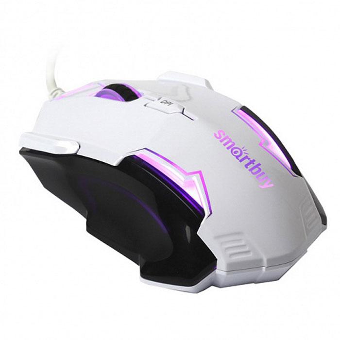 SmartBuy SBM-708G-WK, White Black проводная игровая мышьSBM-708G-WKПроводная оптическая мышь SmartBuy SBM-708G-WK с точным позиционированием курсора. Эргономичный дизайн и удобный захват, разработанные для понижения усталости кисти руки. Красивая пульсирующая подсветка.Правая боковая кнопка служит для плавного прицеливания в снайперском режиме. Контактные площадки (ножки) снижают трение до оптимального скольжения. Возможность переключения между четырьмя режимами DPI.