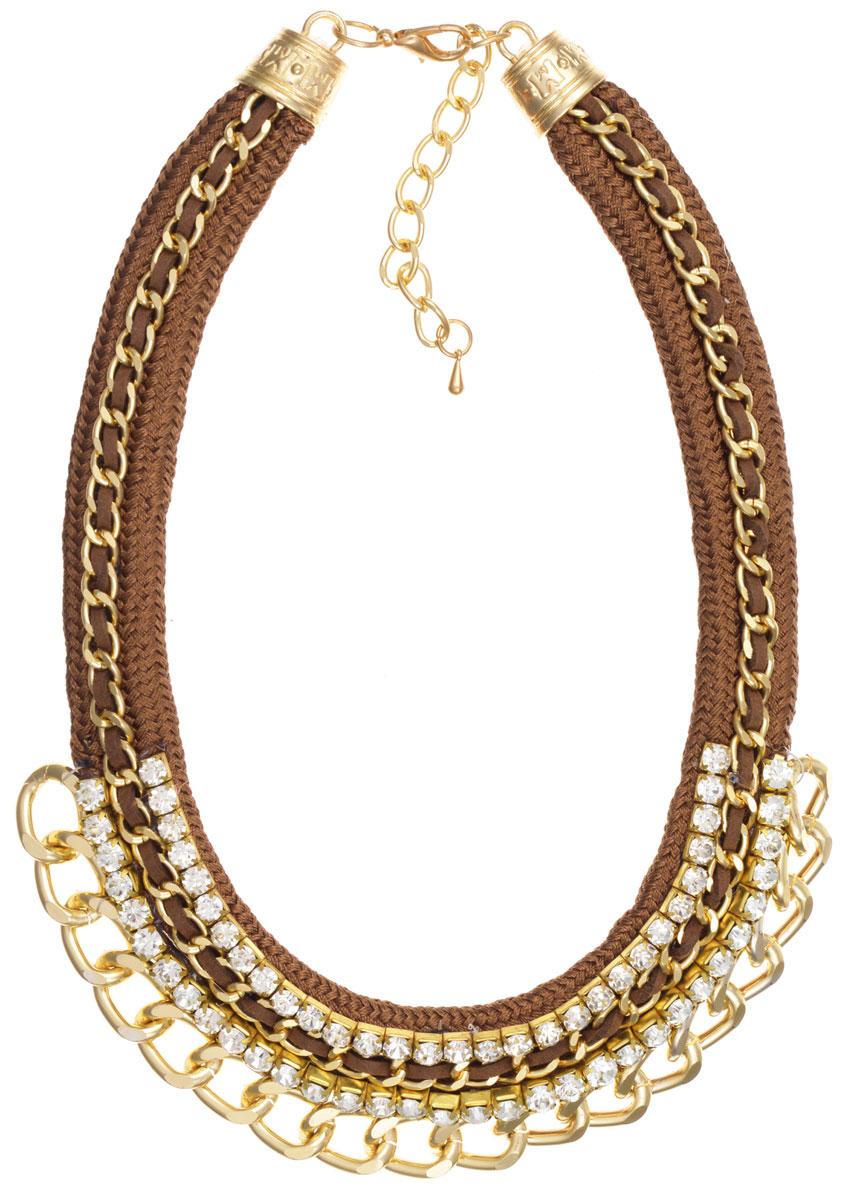 Колье Taya, цвет: золотистый, коричневый. T-B-9039889|Ожерелье (короткие многоярусные бусы)Элегантное колье Taya, выполнено в виде текстильной основы, которая оформлена элементами из бижутерийного сплава и стекла. Центральная часть изделия дополнена декоративными цепочками разных размеров и сияющими стразами.Изделие застегивается на практичный замок-карабин, длина регулируется за счет дополнительных звеньев.Стильное колье придаст вашему образу изюминку, подчеркнет индивидуальность.