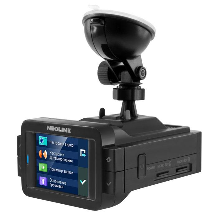 Neoline X-COP 9000 видеорегистратор с радар-детектором338045Радар-детектор Neoline X-COP 9000.Видео высокой четкости:Оптическая система из 6 стеклянных линз, самый мощный на сегодняшний день процессор Ambarella A7 и высокотехнологичный сенсор EXMOR IMX 322 от Sony обеспечивают реалистичное и четкое видео с максимальным уровнем детализации. Кроме того, благодаря использованию матрицы EXMOR от Sony, в гибриде реализован интеллектуальный режим подавления бликов и солнечных лучей. А благодаря низкому уровню шумов и системе светокоррекции, ночное видео получается весьма контрастным.IPS-ЭКРАН:Двухдюймовый дисплей Neoline X-COP 9000 оснащен IPS-матрицей с широким углом обзора, поэтому яркое и контрастное изображение на экране будет отлично просматриваться из любой точки автомобиля и в любую погоду.GPS-база полицейских радаров:Помимо радио-модуля и модуля, настроенного на детектирование радара СТРЕЛКА, в Neoline X-COP 9000интегрирован GPS-модуль, отвечающий за обнаружение точек координат полицейских радаров, которые были ранее установлены в базу GPS. Как и свои предшественники, Neoline X-COP 9000 имеет встроенную базу радаров РФ, Европы, Белоруссии, Украины, Казахстана, Азербайджана, Армении.Быстрое меню:В быстрое меню Neoline X-COP 9000 можно попасть нажатием боковых кнопок, в него вынесены самые необходимые пользовательские функции. Добавить GPS-точку в память устройства, выбрать автоматический или ночной режим, переключить режим детектирования, остановить запись, включить микрофон или отключить звуковое оповещение - все эти функции доступны прямо на дисплее гибрида в одно касание.Запись и просмотр видео:Видео сортируется по 3 папкам: стандартная запись, экстренная и режим парковки. При срабатывании G-сенсора запись автоматически попадает в папку Экстренная запись и блокируется от стирания. Кроме того, любой файл можно заблокировать в меню при просмотре видео.Резервное копирование видеофайлов:NEOLINE X-COP 9000 оснащен двумя слотами под карты памяти MicroSD. Основная запи