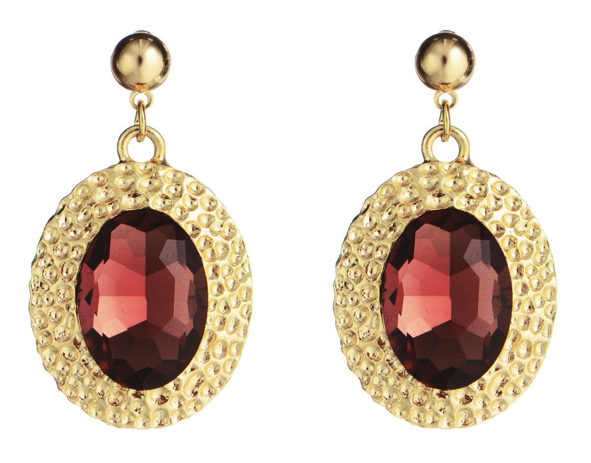 Серьги Taya, цвет: бордово-розовый, золотой. T-B-778Серьги с подвескамиЭлегантные серьги Taya выполнены из бижутерийного сплава с оригинальной фактурой, оформлены вставками из граненых камней.Серьги застегиваются на практичный замок-гвоздик с фиксаторами из металла.Оригинальные серьги придадут вашему образу изюминку, подчеркнут индивидуальность.