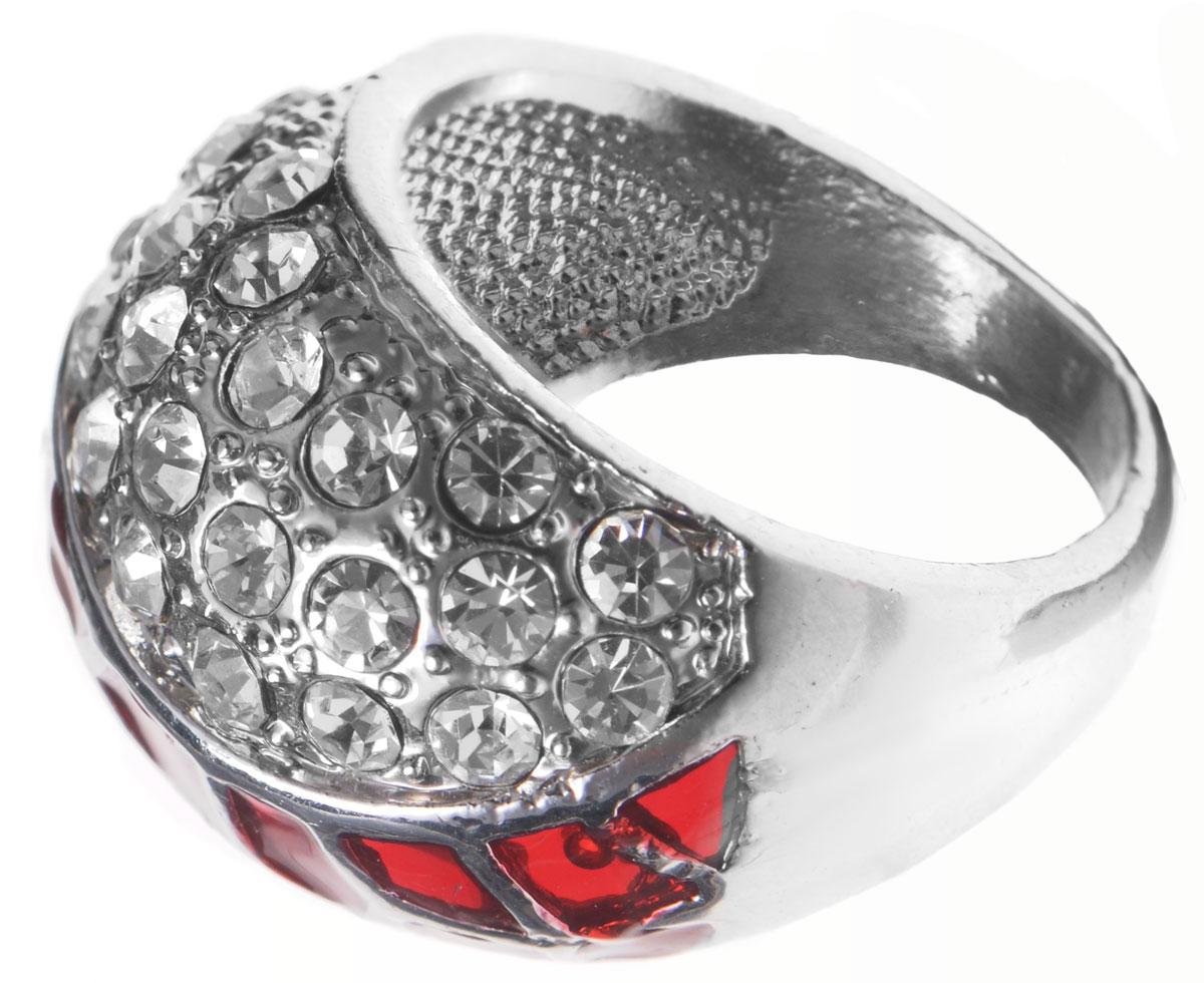 Кольцо Taya, цвет: красный, серебряный. Размер 19. T-B-8689Коктейльное кольцоОригинальное кольцо Taya выполнено из бижутерийного сплава, дополнено вставками из сияющих стразов.Стильное кольцо придаст вашему образу изюминку, подчеркнет индивидуальность.