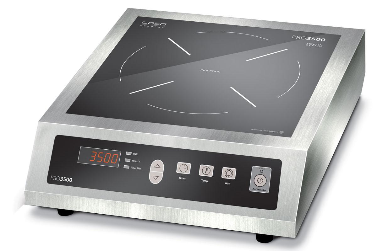 CASO Pro 3500 Touch настольная индукционная плиткаPRO 3500 TouchCASO Pro 3500 Touch - настольная индукционная плитка в корпусе из стали. Прибор имеет одну зону нагрева, сенсорное управление с дисплеем и светодиодной индикацией. Модель проста и понятна в настройке и управлении. Cтеклокерамическая поверхность Schott Ceran легко очищается от загрязнений. Варочная панель оснащена системой индукционного нагрева. Индуктор, расположенный под поверхностью, создает переменное электромагнитное поле – в результате этого в дне посуды индуцируется ток, что и приводит к нагреву. Тепло образуется непосредственно в дне посуды без промежуточного нагрева конфорки.Нагрев: 60-240 °CТаймер 1-180 минутАвтоматическое распознавание посудыБольшой цифровой дисплейФункция поддержания тепла