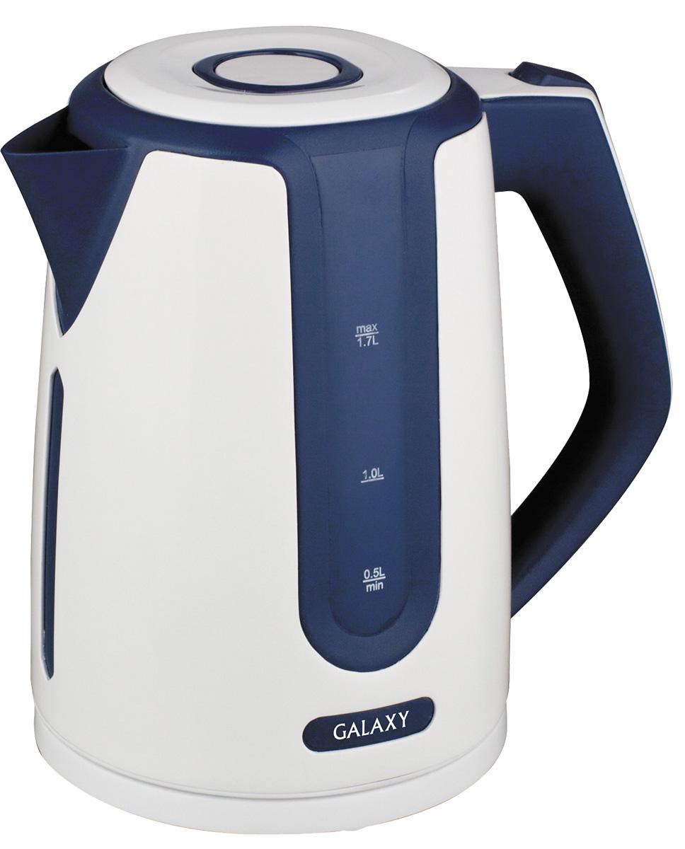 Galaxy GL0207, Blue White электрочайник4630003362308Удобный и простой в использовании электрочайник Galaxy GL0207 изготовлен из термостойкого пластика и впишется в любую современную кухню. Благодаря мощности в 2200 Вт и нагревательному элементу скрытого типа, быстро вскипятит воду объемом до 1,7 литров. На рынке бытовой техники этот прибор пользуется неизменной популярностью благодаря высокому качеству, безопасности и удобству в использовании. Модель оснащена индикатором включения/выключения, шкалой уровня воды и съемным фильтром против накипи. Цоколь с центральным контактом позволяет поворачивать прибор на 360°. В целях безопасности имеются функции блокировки включения без воды и автоматического отключения при закипании.Скрытый нагревательный элемент. Съемный фильтр