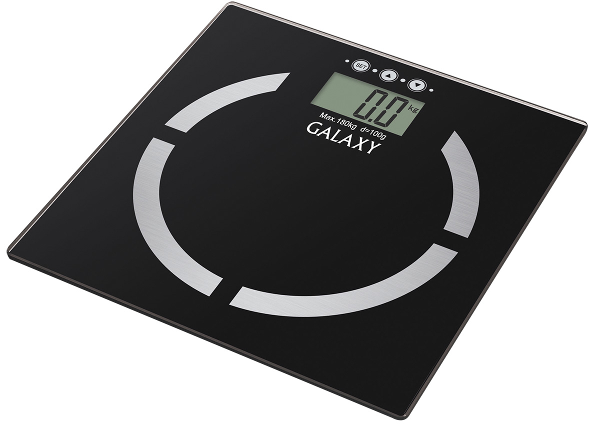 Galaxy GL4850, Black весы4630003364371Благодаря весам Galaxy GL4850 стало возможным не только узнать массу тела, но и вычислить соотношение жировой, мышечной, костной ткани, уровня жидкости в организме и индекса массы тела. Весь процесс измерения занимает буквально несколько секунд! Память измерений на 10 человек позволяет каждому члену семьи контролировать свои показатели. Платформа весов выполнена из высокопрочного немецкого стекла и с легкостью выдерживает большие нагрузки до 180 кг. Высокая точность показаний (100 г) позволяет следить даже за самыми незначительными изменения в весе. Весы располагают функцией автоматического отключения, что сохраняет заряд батареи как можно дольше.Сверхточная сенсорная система датчиковПлатформа из высокопрочного стеклаИндикация перегрузкиИндикация низкого уровня заряда элементов питанияПрорезиненные ножки
