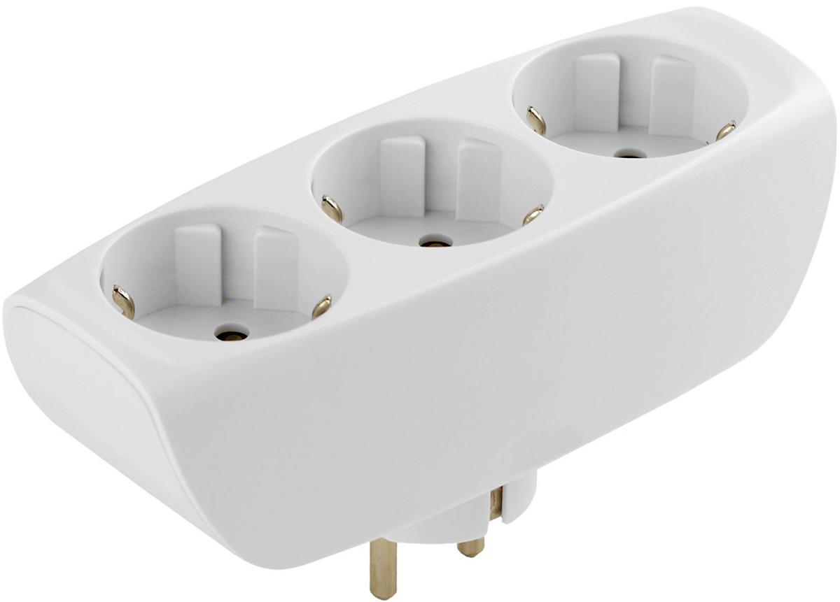 Тройник ЭРА SP-3e-W, с заземлением, цвет: белый, 3 гнезда