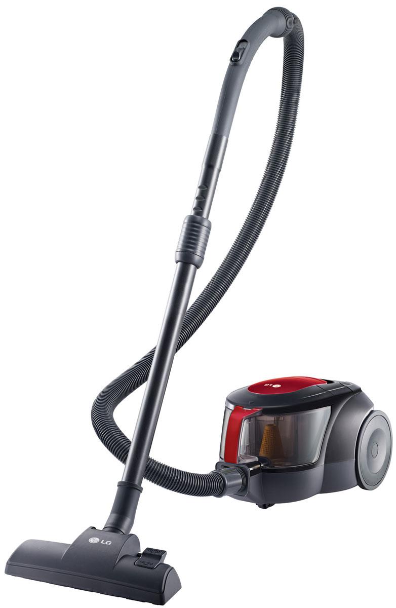 LG VK705W06N, Red Black пылесосVK705W06NПылесос без мешка для пыли LG VK705W06N обязательно сделает уборку вашего дома легче. Компактный дизайн безмешкового пылесоса LG обеспечивает лёгкое хранение.Мотор устройства позволяет значительно ускорить процесс уборки. Циклонный фильтр в форме эллипса тщательно отделяет воздух от пыли, создавая поток с мощной центробежной силой, которая концентрируется в узкой части эллипса и увеличивает мощность воздушного потока в его широкой части, что позволяет отделять даже микрочастицы пыли от воздуха.Комплект пылесоса LG VK705W06N оснащается насадками для различных поверхностей и щеткой для уборки пыли, а низкий уровень шума всего в 82 дБ позволит не беспокоить окружающих во время уборки.