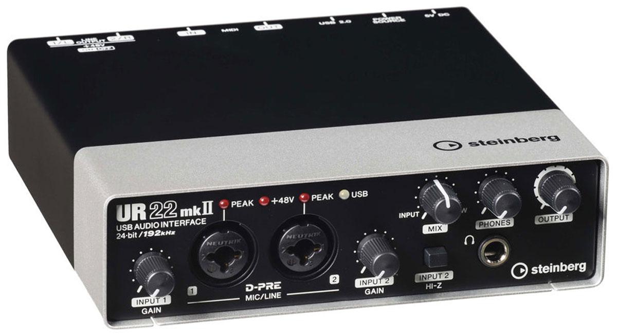 Steinberg UR22mkII аудиоинтерфейсSTEINBERG UR22mk2Steinberg UR22mkII - 2-канальный звуковой USB-интерфейс. В отличии от предыдущей версии, устройство располагает режимом Loopback под интернет-стриминг в реальном времени и функцией Class Compliant для подсоединения к iPad. Помимо этого, в набор входит приложение iOS Cubasis Light Edition.Аудиоинтерфейс предоставляет качество до 192 кГц, подключается посредством USB 2.0 шины, имеет MIDI вход/выход, два комбовхода (XLR / 1/4 TRS) с уже признанными в аудиоиндустрии высококлассными микрофонными предусилителями D-PRE от Yamaha, а также двумя основными линейными выходами.Steinberg UR22mkII заключен в цельнометаллический корпус, на лицевой стороне которого имеются два комбинированных входа Neutrik XLR / 1/4 TRS для подключения микрофонов и линейных источников, каждый с регулировкой усиления и индикатором пиков, плюс дополнительный переключатель Hi-Z на втором входе. Передняя панель также включает выход на наушники с отдельным регулятором громкости и ручку Mix для аппаратного мониторинга с нулевой задержкой.В сочетании с программным обеспечением Cubase AI вы получаете по-настоящему профессиональную среду для записи и работы со звуком по доступной цене. Особенно по вкусу новинку придется мобильным пользователям и небольшим студиям звукозаписи, что обусловлено её портативными размерами.Поддержка режимов до 24-бит/192 кГцПоддержка фантомного питания +48 В Прочный цельнометаллический корпусMIDI вход и выходИнструментальный вход (Hi-Z)Системные требования:Двухъядерный процессор Intel или AMDОЗУ: 2 ГБМесто на диске: 4 ГБРазрешение экрана: 1280 x 800ОС: Windows 7/8/8.1/10; Mac OS X 10.7/10.8/10.9/10.10/10.11Для установки и активации ПО Cubase AI требуется интернет-соединение