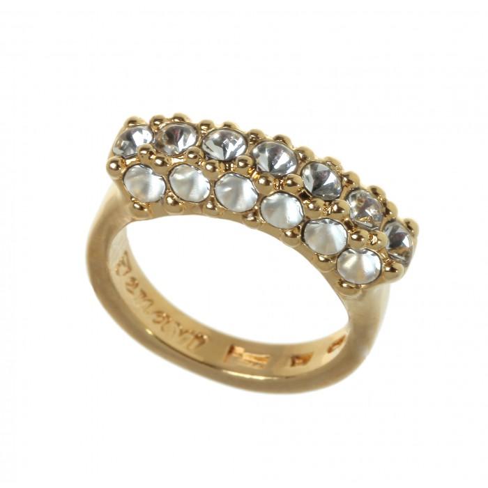 Кольцо Jenavi Буисон, цвет: золотистый, белый. Размер 17Коктейльное кольцоСтильное кольцо Jenavi Буисон выполнено из ювелирного сплава с антиаллергическим гальваническим покрытием позолотой. Декоративный элемент в три ряда оформлен белыми кристаллами Swarovski.Изящное кольцо придаст вашему образу изюминку и подчеркнет индивидуальность.