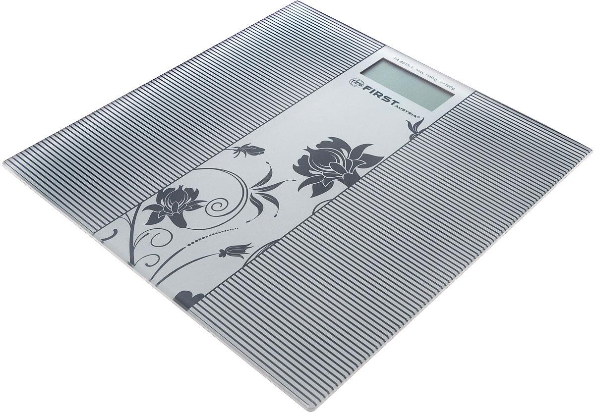 First FA-8015-1, Grey весы напольныеFA-8015-1_GreyНапольные весы First FA-8015-1 с платформой из прочного стекла и дисплеем диагональю 1 дюйм позволят с комфортом производить измерение массы тела. Данная модель оснащена функциями автоматического включения/выключения, обнуления, и индикацией низкого заряда батареи.