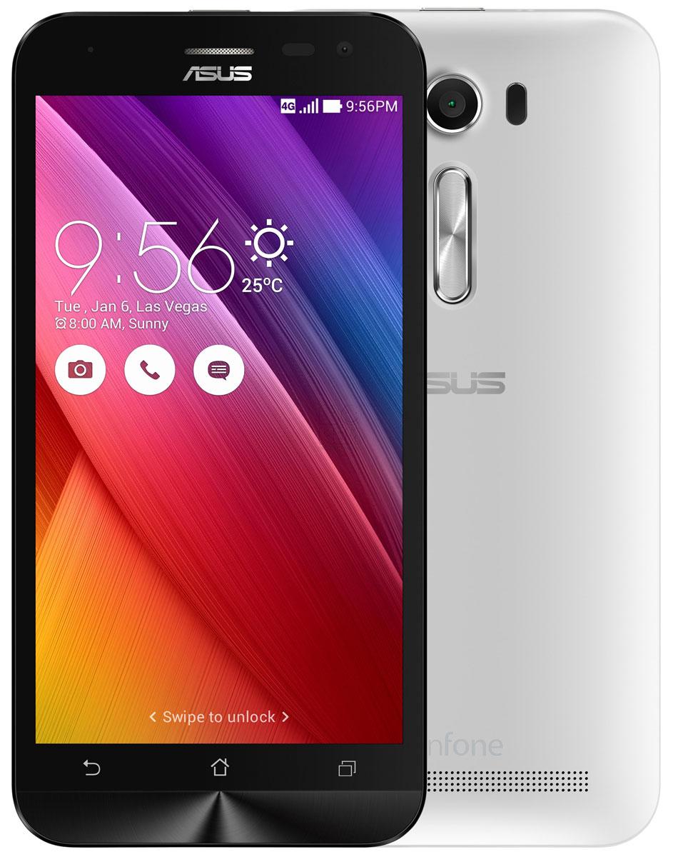 ASUS ZenFone 2 Laser ZE500KL 8GB, White (90AZ00E2-M01140)90AZ00E2-M01140Смартфон ZenFone 2 Laser (ZE500KL) выполнен в изящном корпусе, толщина боковых граней которого составляет всего 3,5 мм. Обладая эргономичной формой, он украшен традиционным для мобильных устройств ASUS узором из концентрических окружностей с углублениями размером 0,13 мм.Продуманная эргономика:ZenFone 2 Laser выполнен в эргономичном корпусе, который удобно ложится в ладонь. Оригинальным и весьма удобным решением в его дизайне является расположенная на задней панели корпуса кнопка, с помощью которой можно делать фотоснимки, изменять громкость звука и т.д.Меньше - лучше!Дополнительной компактности корпуса ZenFone 2 Laser (ZE500KL) удалось добиться за счет уменьшения толщины экранной рамки. Отношение размера экрана к размеру передней панели составляет целых 70%!Идеальный баланс между производительностью и временем автономной работы:За высокую скорость работы ZenFone 2 Laser (ZE500KL) в различных приложениях отвечает современный процессор Qualcomm, а поддержка LTE означает обмен данными в мобильных сетях на скорости до 150 Мбит/с.Защитное стекло Corning Gorilla 4:Gorilla Glass 4 - последняя версия защитного покрытия дисплея от разработчиков Corning. Она вдвое прочнее предыдущей версии в тесте на падение, обладает в 2,5 раза большей остаточной прочностью и на 85% долговечней при ежедневном использовании.Четкие фотоснимки:ZenFone 2 Laser оснащается 8-мегапиксельной камерой для съемки фотографий и видео в высоком разрешении. Отличительной особенностью модели является лазерная фокусировка, которая минимизирует смазывание изображения за счет моментального срабатывания. В устройстве реализовано множество технологий и функций, направленных на улучшение качества фотоснимков.Лазерная автофокусировка:Тыловая камера смартфона ZenFone 2 Laser обладает системой моментальной лазерной фокусировки, срабатывающей всего за 0,03 с, которая способствует получению четких снимков даже в неблагоприятных условиях.Режим уве