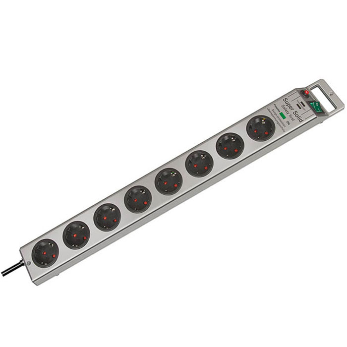 Brennenstuhl Super-Solid сетевой фильтр 8 розеток 13500 A, Silver1153340318Сетевой фильтр на 8 розеток Brennenstuhl Super-Solid защищает оборудование от скачков напряжения.Гнезда изготовлены из прочного пластикаДвухполюсный выключатель с подсветкойЗаземленные розеткиРозетки расположены под углом 45° что позволяет подключать крупные штекеры и блоки питанияВозможность крепления фильтра к стенеУдобное расположение кнопки включения и кабеляНескользящие резиновые накладки на нижней части корпусаНадёжная защита от помех и скачков напряжения до 13500 АТип кабеля: H05VV-F 3G1,5