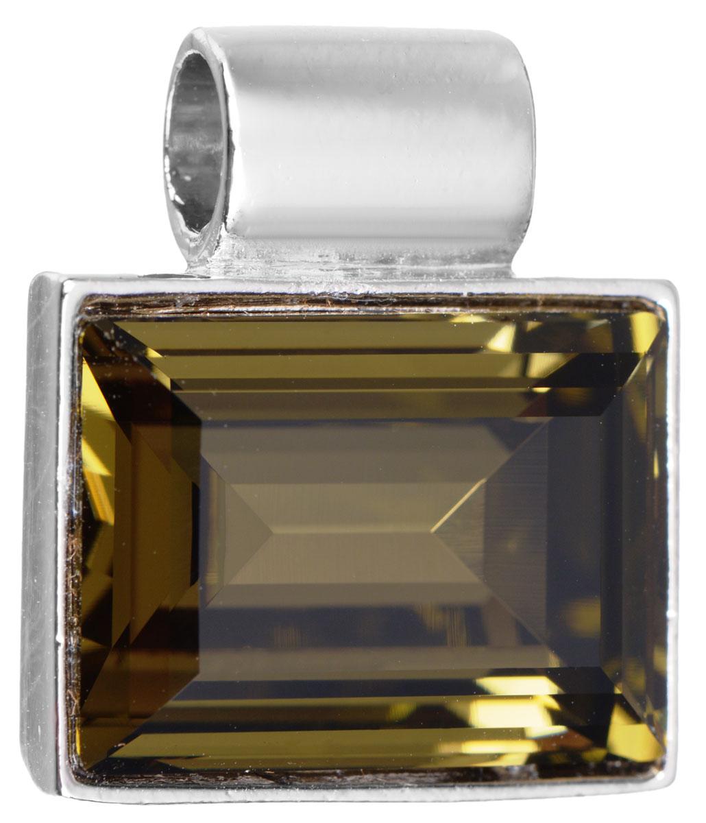 Подвеска Jenavi Тянада, цвет: серебряный, коричневый. k296f325Брошь-кулонПодвеска Jenavi Тянада выполнена из гипоаллергенного ювелирного сплава, оформлена покрытием из серебра и родия. Подвеска прямоугольной формы дополнена граненым кристаллом Swarovski.Изделие имеет отверстие, которое позволит использовать цепочку любого диаметра.Подвеска Jenavi Тянада поможет дополнить любой образ и привнести в него завершающий яркий штрих.