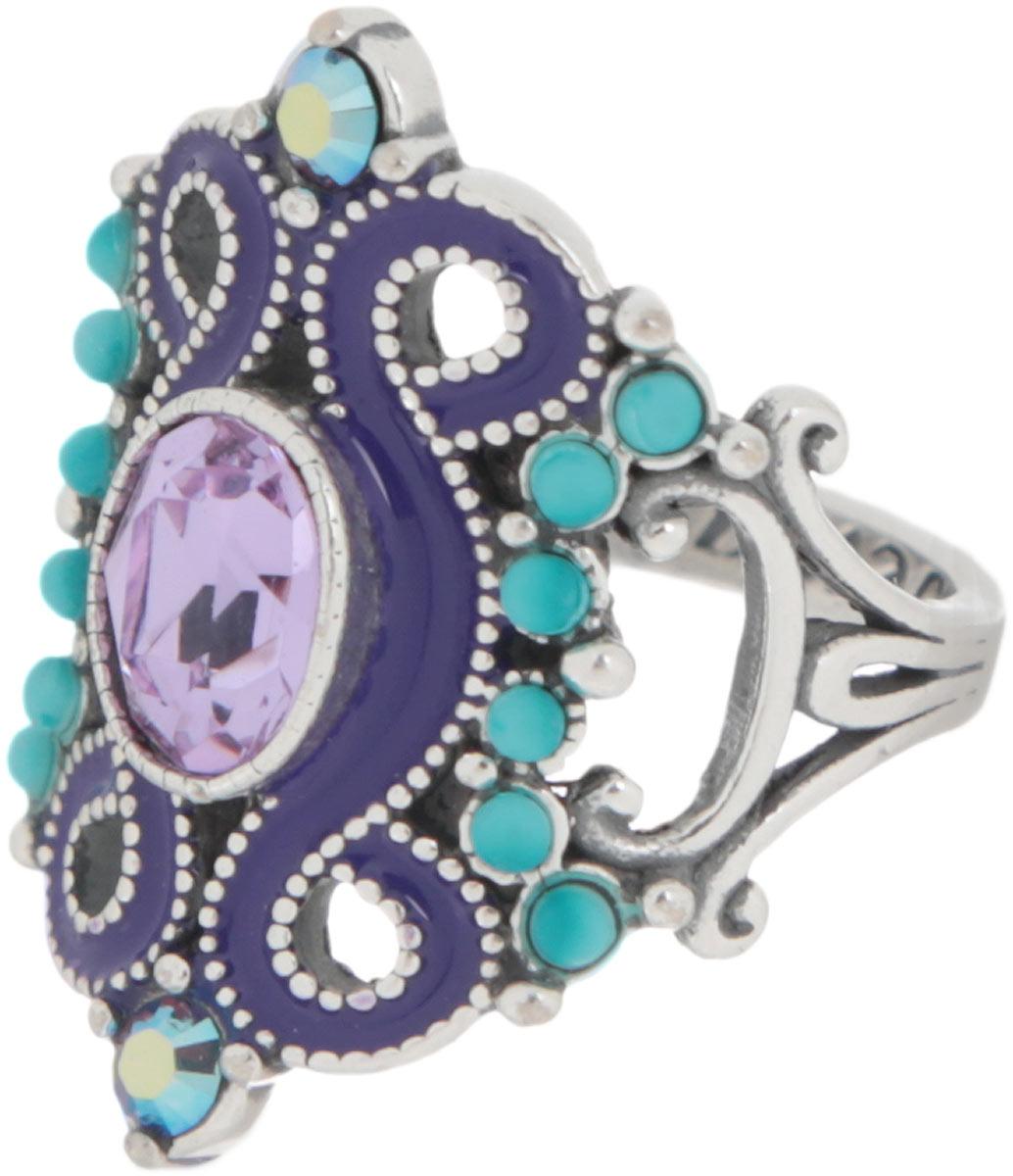 Кольцо Jenavi Шер, цвет: серебристый, сиреневый, фиолетовый, бирюзовый. Размер 16АромакулонЭлегантное дизайнерское кольцо Jenavi Шер выполнено из ювелирного сплава с антиаллергическим гальваническим покрытием чернёного серебра. Изделие привлекает внимание сложным ажурным литьем и яркой композицией. Декорировано кольцо гранеными кристаллами Swarovski.Изысканное цветовое решение и оригинальный дизайн этого кольца не позволят вам остаться незамеченными.