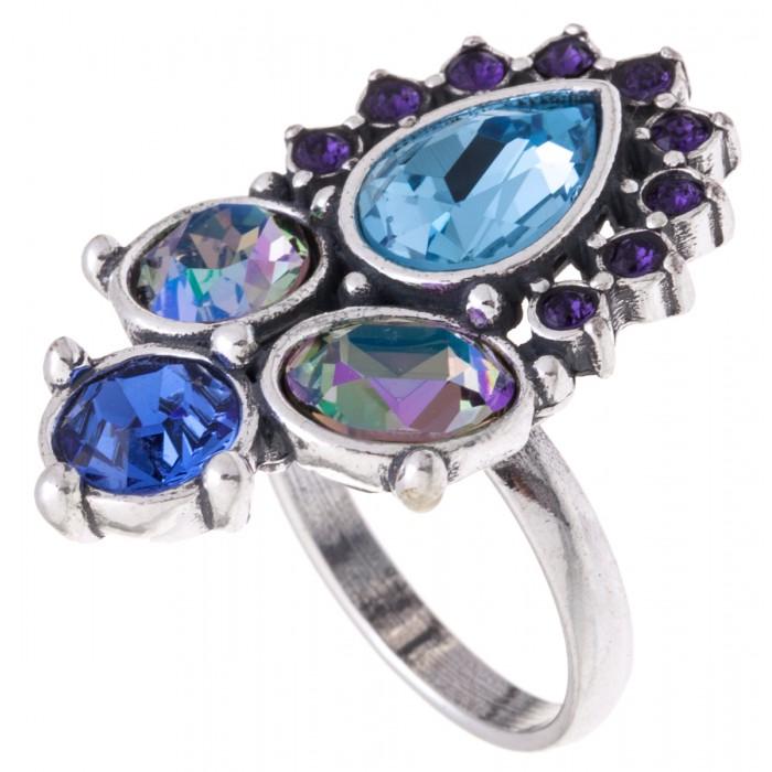Кольцо Jenavi Сефория, цвет: серебряный, голубой. k3223040. Размер 20Коктейльное кольцоКольцо Jenavi Сефория выполнено из ювелирного сплава с антиаллергическим гальваническим покрытием серебром. Изделие украшено сверкающими голубыми кристаллами Swarovski различных оттенков.Изысканное кольцо станет оригинальным аксессуаром как для повседневного, так и для вечернего наряда, оно подчеркнет вашу индивидуальность и неповторимый стиль, и поможет создать незабываемый уникальный образ.