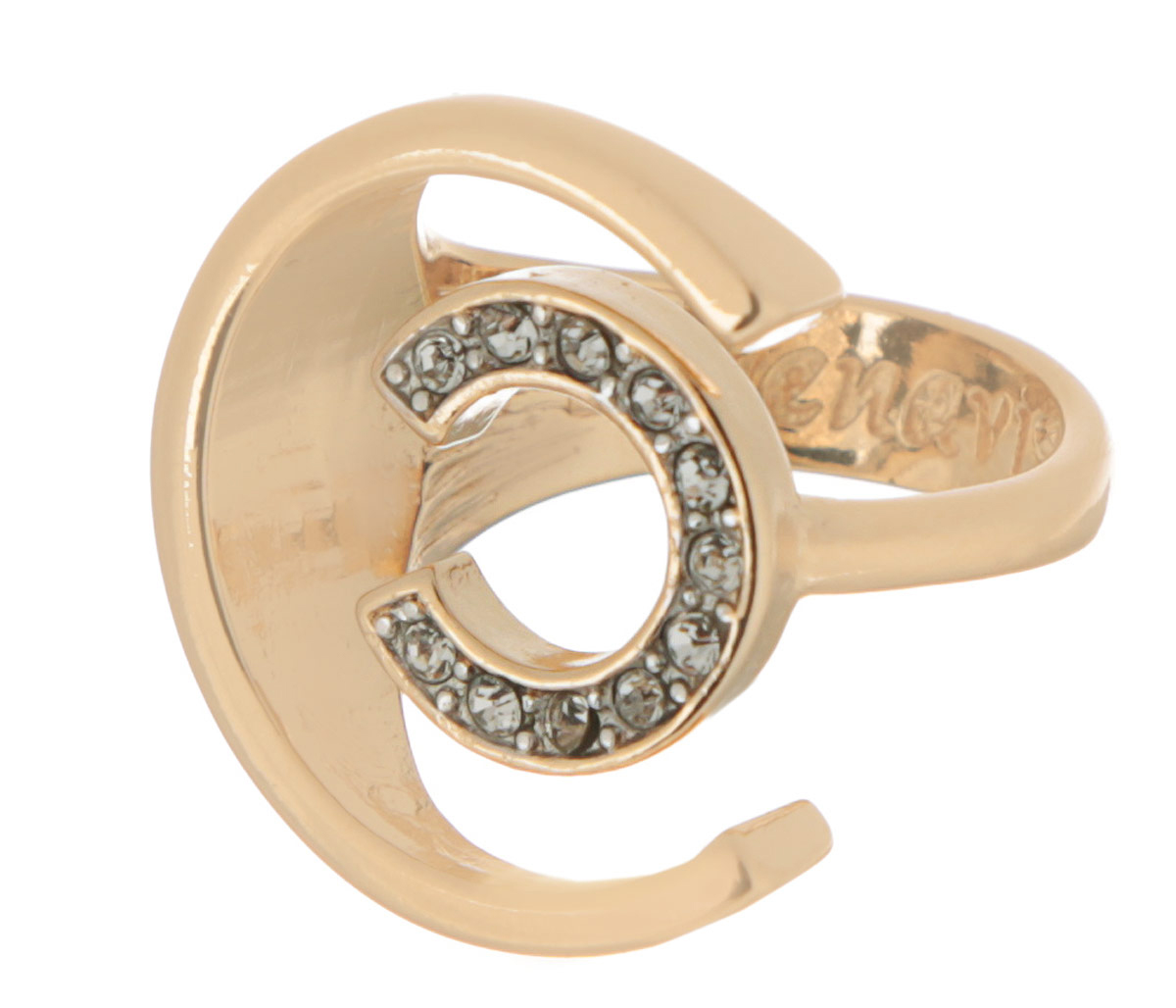 Кольцо Jenavi Форцетия, цвет: золотистый. Размер 17Кольцо для платкаЭлегантное кольцо Jenavi Форцетия выполнено из антиаллергического ювелирного сплава, покрытого позолотой с родированием. Декоративный элемент выполнен в виде двух полуокружностей разного диаметра, одна из которых инкрустирована гранеными кристаллами Swarovski. Стильное кольцо придаст вашему образу изюминку и подчеркнет индивидуальность.