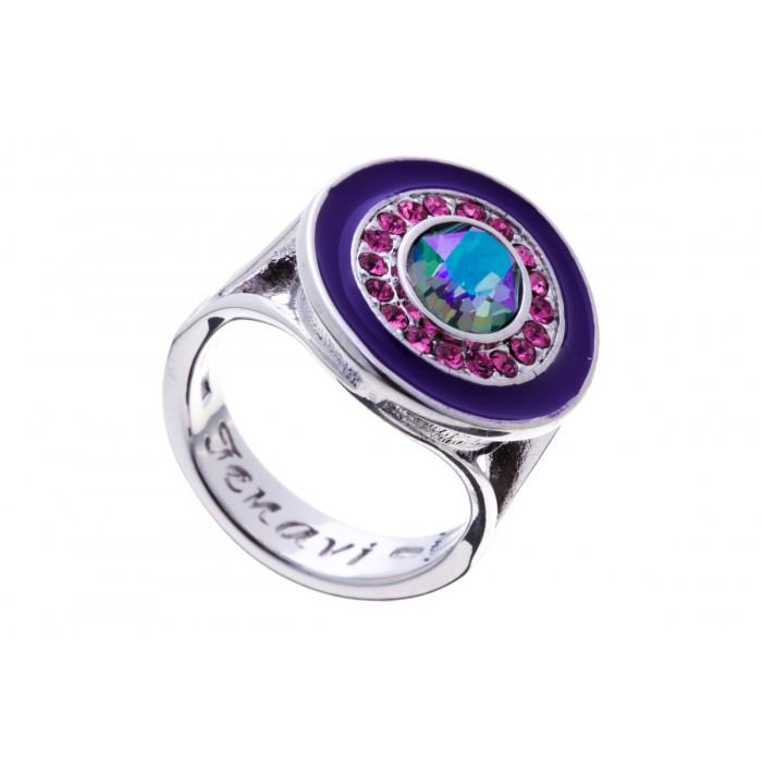 Кольцо Jenavi Color 18, цвет: серебряный, фиолетовый, розовый. f379f070. Размер 20Коктейльное кольцоСтильное кольцо Jenavi Color 18 выполнено из гипоаллергенного ювелирного сплава с покрытием серебром и родием и оформлено кристаллами Swarovski и цветной эмалью. Стильное кольцо придаст вашему образу изюминку, подчеркнет индивидуальность.