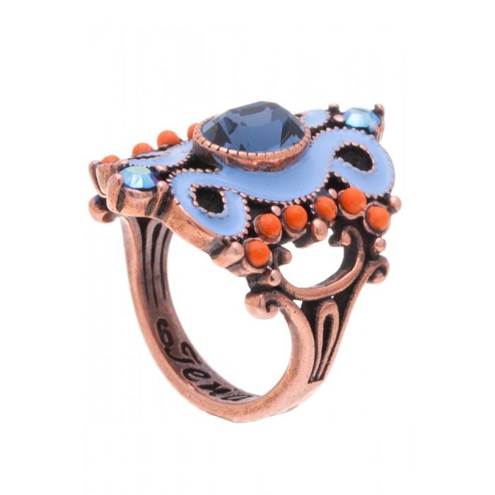 Кольцо Jenavi Шер, цвет: медный, голубой, оранжевый. f519u044. Размер 17Коктейльное кольцоЭлегантное дизайнерское кольцо Jenavi Шер выполнено из ювелирного сплава с антиаллергическим гальваническим покрытием черненого серебра. Изделие привлекает внимание сложным ажурным литьем и красочной композицией. Декорировано кольцо гранеными кристаллами Swarovski.Изысканное цветовое решение и оригинальный дизайн этого кольца не позволят вам остаться незамеченными.