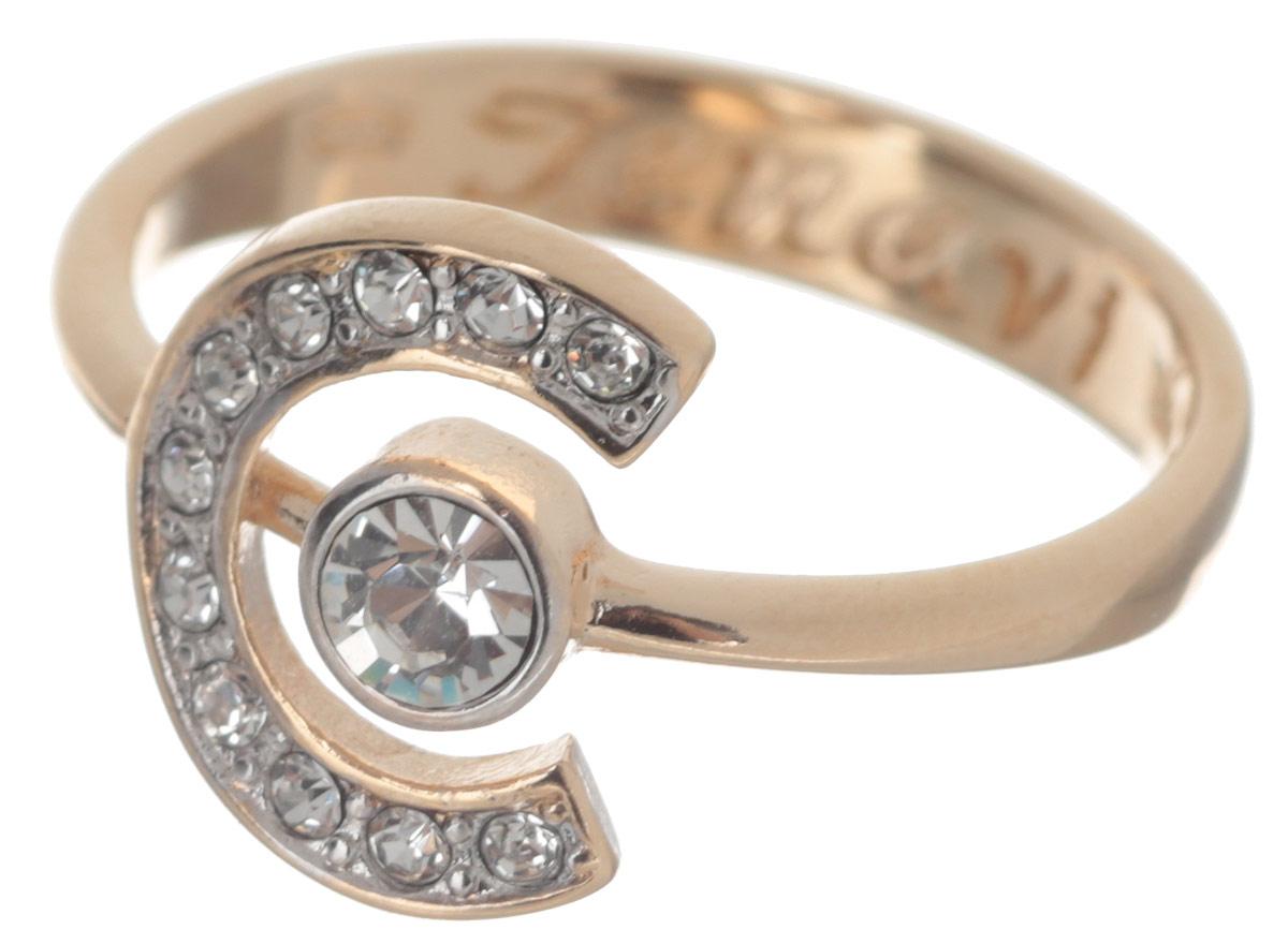 Кольцо Jenavi Эстелио, цвет: золотистый. f497q000. Размер 17Коктейльное кольцоКольцо современного дизайна Jenavi Эстелио выполнено из ювелирного сплава с антиаллергическим гальваническим покрытием с позолотой и родированием.В дизайне кольца сочетаются простота и изысканность. Его центральная часть выполнена в виде полуокружности, в которую вписалась страза среднего размера Swarovski. Инкрустация небольшими искрящимися кристаллами по периметру дополняет эффектный и лаконичный образ.Стильное кольцо придаст вашему образу изюминку и подчеркнет индивидуальность.