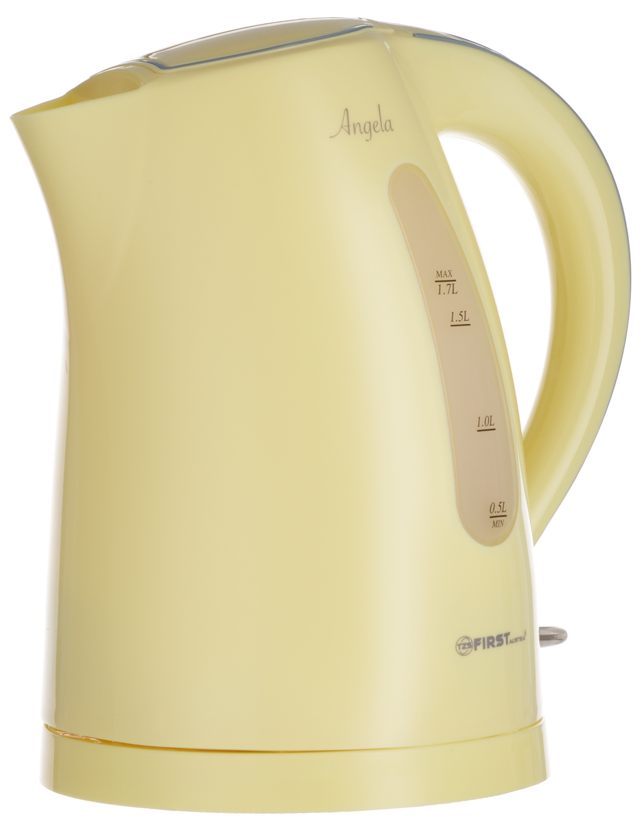 First FA-5426-3, Yellow электрический чайникFA-5426-3YellowFirst FA-5426-3 - надежный и недорогой электрочайник в корпусе из качественного пластика. Прибор оснащен скрытым нагревательным элементом и позволяет вскипятить до 1,7 литра воды. Данная модель оснащена светоиндикатором работы, поворотной поверхностью 360° и фильтром для воды. Для обеспечения безопасности при повседневном использовании предусмотрены функция автовыключения, защиты от перегрева, а также кнопка мягкого открытия крышки.