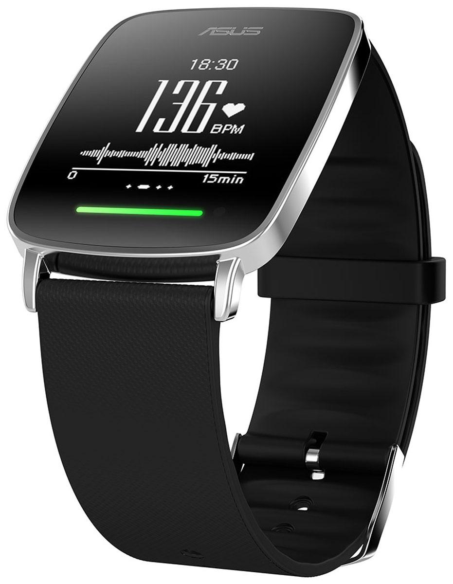 ASUS VivoWatch, Black смарт-часы4712900065534В часах Asus VivoWatch применена технология VivoPulse: встроенный оптический датчик постоянно и с высокой точностью отслеживает частоту пульса пользователя. Эти данные затем используются при подсчете количества потраченных калорий, оценке качества сна и т.д. Отслеживая частоту пульса, часы выполняют мониторинг физической активности и сна пользователя.Регулярные занятия аэробными упражнениями оказывают массу положительных эффектов на здоровье. Чтобы облегчить их выполнение, Asus VivoWatch оснащены светодиодным индикатором, который светится зеленым цветом при аэробной нагрузке. Если же нагрузка становится чересчур высокой, индикатор предупреждает об этом красным цветом.Подсчет числа шагов, сделанных пользователем за день.Вычисление количества калорий, потраченных организмом в течение дня, на основе таких факторов как частота пульса, уровень физической активности, пол, возраст и вес.Встроенный датчик позволяет измерить текущий уровень ультрафиолетового излучения.Мотивационные напоминания о необходимости регулярной физической активности.Хороший сон - залог успешного самочувствия в течение дня. Часы Asus VivoWatch умеют отслеживать частоту пульса, длительность и то, как часто меняется во время сна положение тела пользователя, чтобы на основе этих данных предоставить общую оценку качества сна. Кроме того, часы помогут проснуться утром с помощью встроенного будильника.Индекс комфорта – это численное значение, отражающее результат измерений качества сна и физической активности пользователя. Это число является общим показателем того, насколько здоровым является ваш образ жизни.Кроме всего прочего, часы Asus VivoWatch способны выдержать пребывание под водой на глубине до 1 метра в течение 30 минут.До 10 дней автономной работыСветодиодный индикатор проинформирует насколько успешны аэробные упражненияОценка качества сна на основе нескольких параметровДатчик ультрафиолетового излученияАвтоматическая синхронизация с приложением ASUS Hi