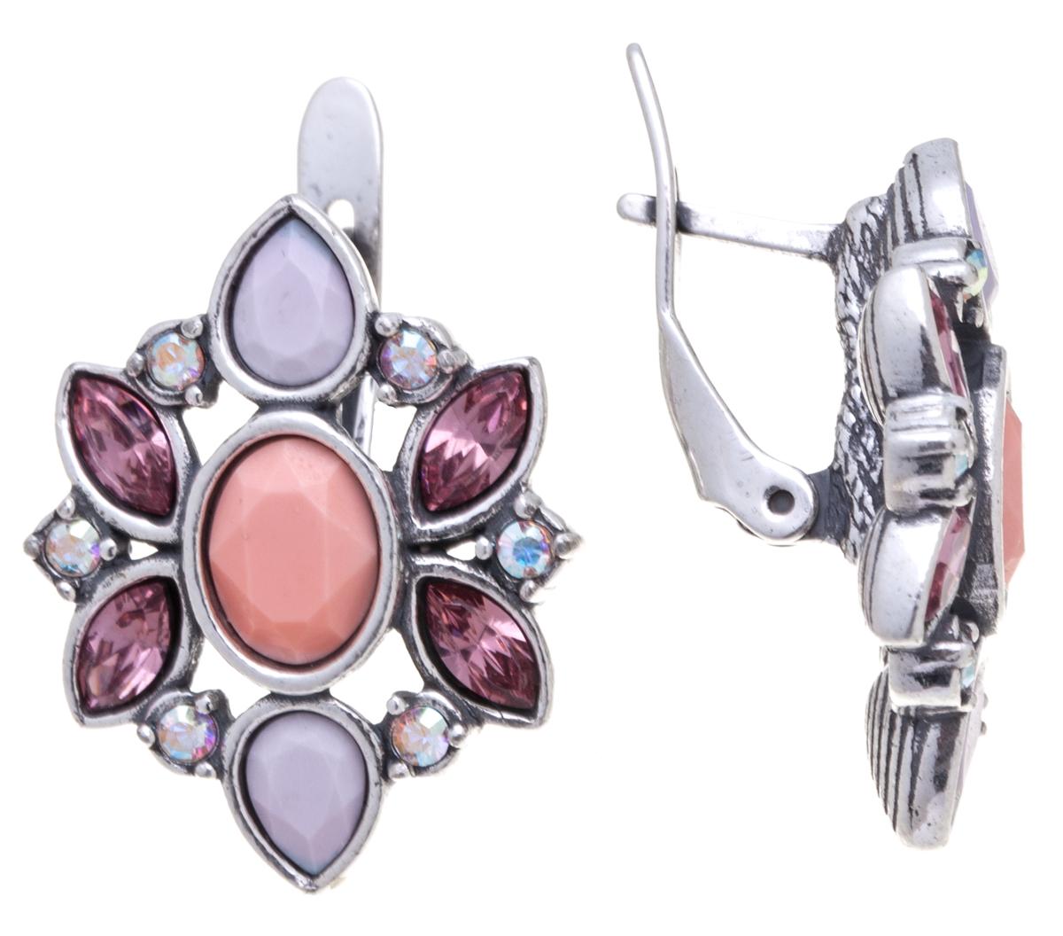 Серьги Jenavi Кангра, цвет: серебряный, розовый. k31631k7Пуссеты (гвоздики)Элегантные серьги Jenavi Кангра выполнены из ювелирного сплава с антиаллергическим гальваническим покрытием черненым серебром. Изделие оформлено сверкающими кристаллами Swarovski. Серьги застегиваются на удобную английскую застежку, которая эстетично включается в дизайн украшения. Изысканные серьги станут модным аксессуаром как для повседневного, так и для вечернего наряда, они подчеркнет вашу индивидуальность и неповторимый стиль, и помогут создать незабываемый уникальный образ.