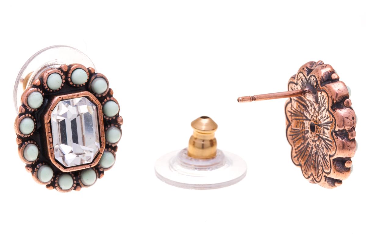 Серьги Jenavi Марбелья, цвет: медный, мятный, белый. f518u870Пуссеты (гвоздики)Элегантные серьги Jenavi Марбелья выполнены из ювелирного сплава с антиаллергическим гальваническим медным покрытием. Изделие украшено сверкающим прозрачным кристаллом Swarovski. Серьги имеют удобный и практичный замок-гвоздик, который эстетично включается в дизайн украшения. Изящные серьги станут модным аксессуаром как для повседневного, так и для вечернего наряда, они подчеркнет вашу индивидуальность и неповторимый стиль, и помогут создать незабываемый уникальный образ.