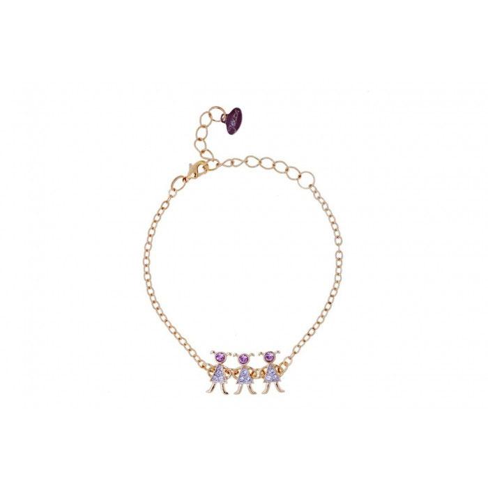 Браслет Jenavi 3Д, цвет: золотой, розовый, серебряный. r988q470Браслет с подвескамиОчаровательный браслет Jenavi 3Д изготовлен из гипоаллергенного позолоченного ювелирного сплава с родированием. Браслет выполнен в виде изящной цепочки классического плетения, которая украшена вставкой с фигурками трех девочек, инкрустированных кристаллами Swarovski. Изделие застегивается на замок-карабин и оснащено цепочкой для регулирования размера.Такой браслет позволит вам быть оригинальной, изящной и создать свой неповторимый образ. Красивое и необычное украшение блестяще подчеркнет изысканный вкус, женственность и красоту своей обладательницы и поможет внести разнообразие в привычный образ.