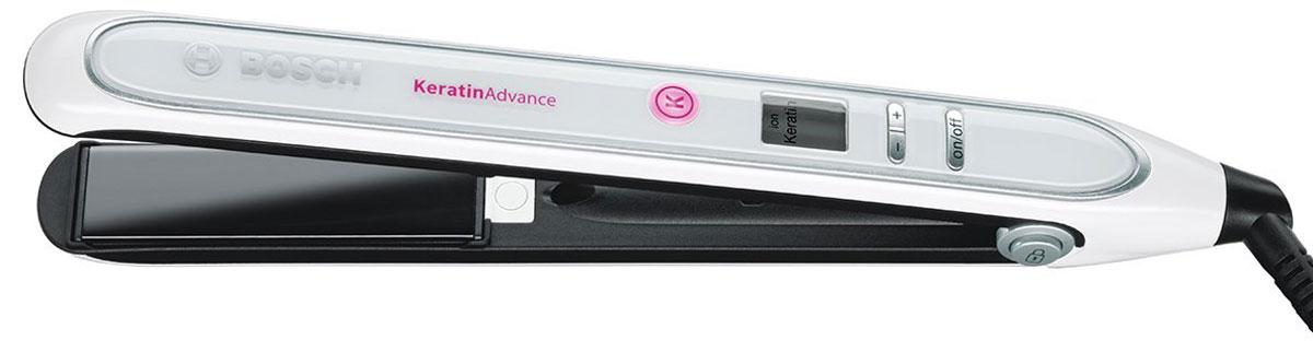 BoschPHS5987, White выпрямитель для волосPHS5987Выпрямитель для волос Bosch PHS5987 с технологией KeratinAdvance защищает структуру волос и поддерживает их здоровый вид. Плавающие пластины с анодированным покрытием позволяют равномерно распределять тепло по всей длине волос, обеспечивая бережное и эффективное выпрямление. Автоматическая функция ионизации способствует уменьшению статического электричества, делая волосы гладкими, блестящими и послушными, а плавная регулировка температуры позволяет подобрать оптимальный режим работы прибора, который будет идеально соответствовать вашему типу волос, позволяя достичь наилучшего результата.Размер пластин: 110 мм х 25 ммПокрытие рабочей зоны: анодированноеБыстрый нагрев: 25 секундАвтоматическое отключение: через 72 минуты