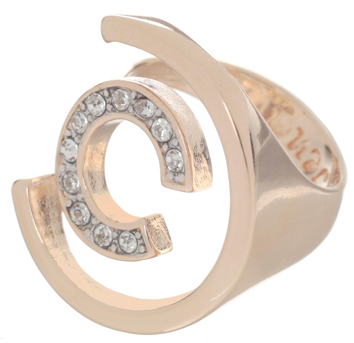 Кольцо Jenavi Форцетия, цвет: золотистый. Размер 16Коктейльное кольцоЭлегантное кольцо Jenavi Форцетия выполнено из антиаллергического ювелирного сплава, покрытого позолотой с родированием. Декоративный элемент выполнен в виде двух полуокружностей разного диаметра, одна из которых инкрустирована гранеными кристаллами Swarovski. Стильное кольцо придаст вашему образу изюминку и подчеркнет индивидуальность.
