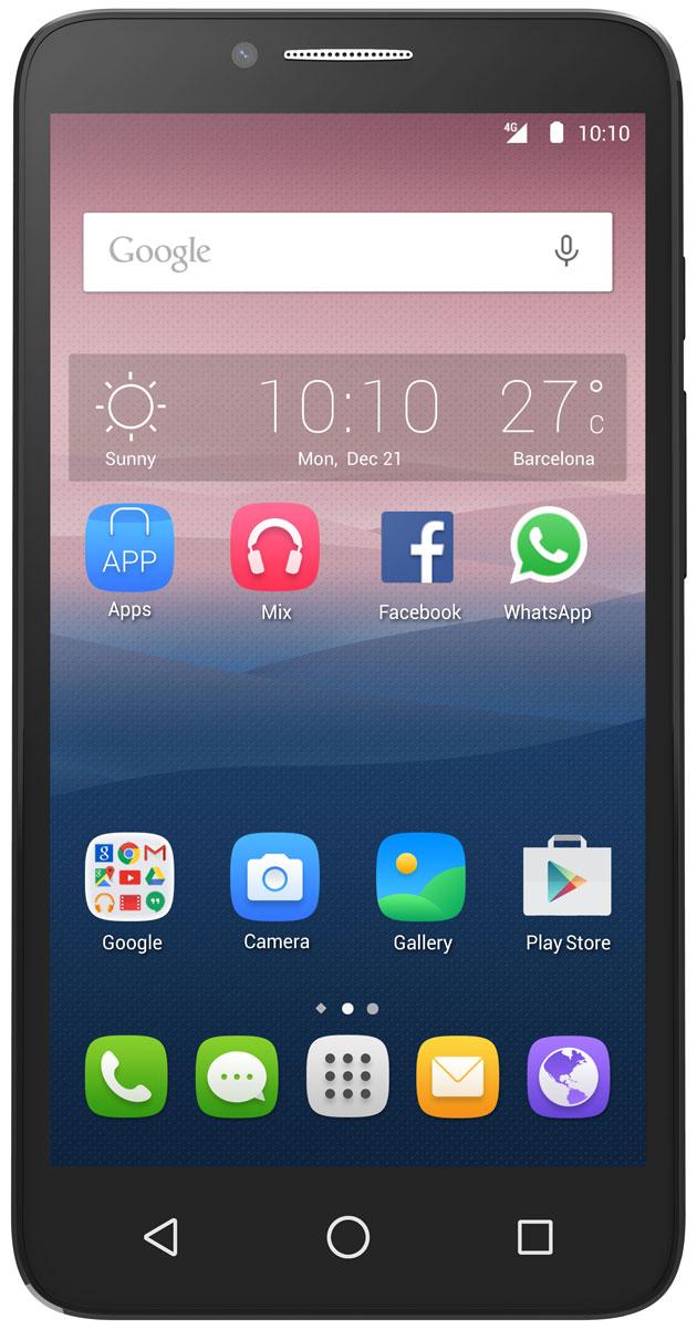 Alcatel OT-5054D Pop 3, Black5054D-2CALRU1Благодаря тонкому изящному дизайну Alcatel OT-5054D Pop 3 излучает очарование со всех сторон. Вы можете менять заднюю панель смартфона, выбирая из различных цветовых и текстурированных решений.HD IPS экран смартфона Alcatel OT-5054D Pop 3 с диагональю 5,5 дюймов позволит вам наслаждаться кино, играми и другими развлечениями.Четырехъядерный процессор обеспечивает плавную работу сразу нескольких приложений, запущенных одновременно. А благодаря технологии 4G LTE вы сможете быстрее загружать видео и с комфортом просматривать страницы в Интернете.Благодаря 8-мегапиксельной основной камере со множеством фильтров и автофокусом на лице, а также 5-мегапиксельной фронтальной камере вы можете создавать яркие и интересные фотоснимки.Вы можете перенести любимые или часто используемые пункты меню (приложения, ярлыки и виджеты) на главный экран Alcatel OT-5054D Pop 3 для быстрого доступа к ним. Главный экран является расширенным для обеспечения большего пространства для добавления приложений, ярлыков и т.д. Скользите влево и вправо по главному экрану для его полного просмотра.При получении уведомления просто потяните строку состояния вниз, чтобы открыть панель уведомлений. В ней отображается информация о тех или иных событиях, происходящих или произошедших с вашим телефоном, например, уведомления о получении SMS и MMS, статус установки приложений и т.д.Для защиты вашего Alcatel OT-5054D Pop 3 и личной информации вы можете заблокировать экран телефона с помощью графического ключа, PIN, пароля и т.д.Используйте встроенный в телефон приёмник GPS для определения своего местоположения с точностью до нескольких метров. При первом запуске телефона может потребоваться до 5 минут на определение вашего местоположения. При этом телефон должен находиться под открытым небом и не должен перемещаться. В дальнейшем ваше местоположение будет определяться в течение 20-40 секунд, однако и в этом случае телефон должен находиться под открытым небом.Телефон сер