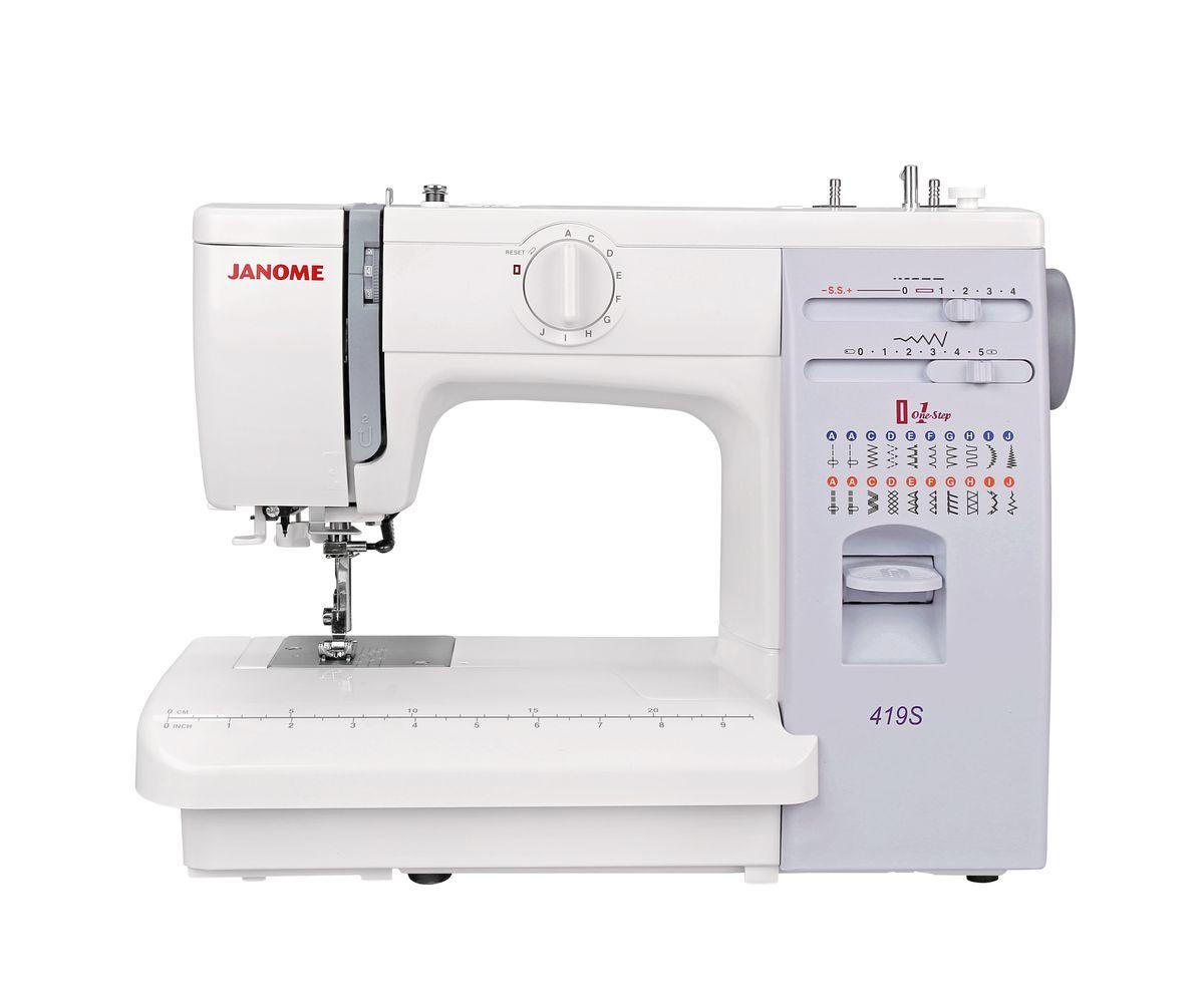 Janome 419S швейная машина4933621700188Janome 419S - швейная машина для шитья и ремонта одежды. Она оборудована надежным вертикальным качающимся челноком, применяемым в бытовых швейных машинах уже многие десятилетия. Швейная машина отлично подойдет для шитья с применением различных тканей: ситца, крепа, плащевой, бязи, тика, шелка, шифона, фланели, хлопчатобумажных тканей, а также полиэстера. Удобная и практичная техника выполняет автоматическую петлю, способна шить: потайную строчку, прямую, оверлочную, выполнять подшивку низа, прямую строчку, имеющую смещение влево, зигзаг. Кнопка реверса обеспечивает легкое управление с громоздкими вещами и позволяет делать закрепки коротким двойным нажатием.Конструкция швейной машинки позволяет снять часть столика, образуя удобную рукавную платформу, на которой комфортно обрабатывать манжеты, штанины и другие трубчатые детали одежды. В пенале под крышкой столика предусмотрен удобный отсек для хранений дополнительных принадлежностей.Благодаря встроенной подсветке рабочей области можно комфортно работать даже в условиях слабой освещенности.