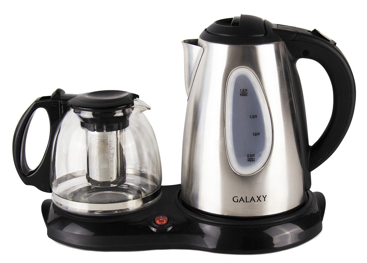 Galaxy GL0403 набор для приготовления чая4630003369154В набор Galaxy GL0403 входят два чайника – для кипячения воды и для заваривания, а также специальная платформа для подогрева заварочного чайника. Стеклянный заварочный чайник емкостью 1 лУказатели максимального и минимального уровней водыФункция поддержания температуры для заварочного чайника