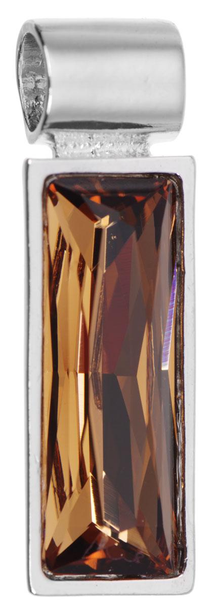 Подвеска Jenavi Зонеко, цвет: серебряный, коричневый. k295f325Брошь-кулонОригинальная подвеска Jenavi Зонеко выполнена из гипоаллергенного ювелирного сплава, оформлена покрытием из серебра и родия. Подвеска прямоугольной формы дополнена граненым кристаллом Swarovski.Изделие имеет отверстие, которое позволит использовать шнур или цепочку любого диаметра.Подвеска Jenavi Зонеко поможет дополнить любой образ и привнести в него завершающий яркий штрих.