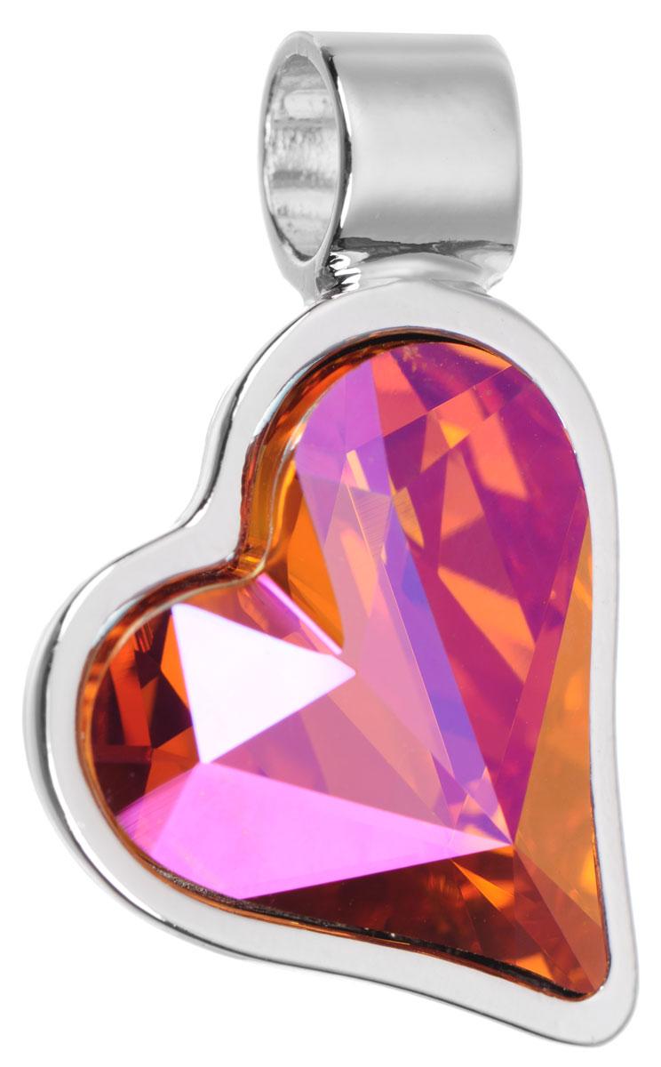 Подвеска Jenavi Зилба, цвет: серебряный, оранжевый. k256f311АромакулонОригинальная подвеска Jenavi Зилба выполнена из гипоаллергенного ювелирного сплава, оформлена покрытием из серебра и родия. Подвеска в форме сердца дополнена граненым кристаллом Swarovski.Изделие имеет отверстие, которое позволит использовать шнур или цепочку любого диаметра.Подвеска Jenavi Зилба поможет дополнить любой образ и привнести в него завершающий яркий штрих.