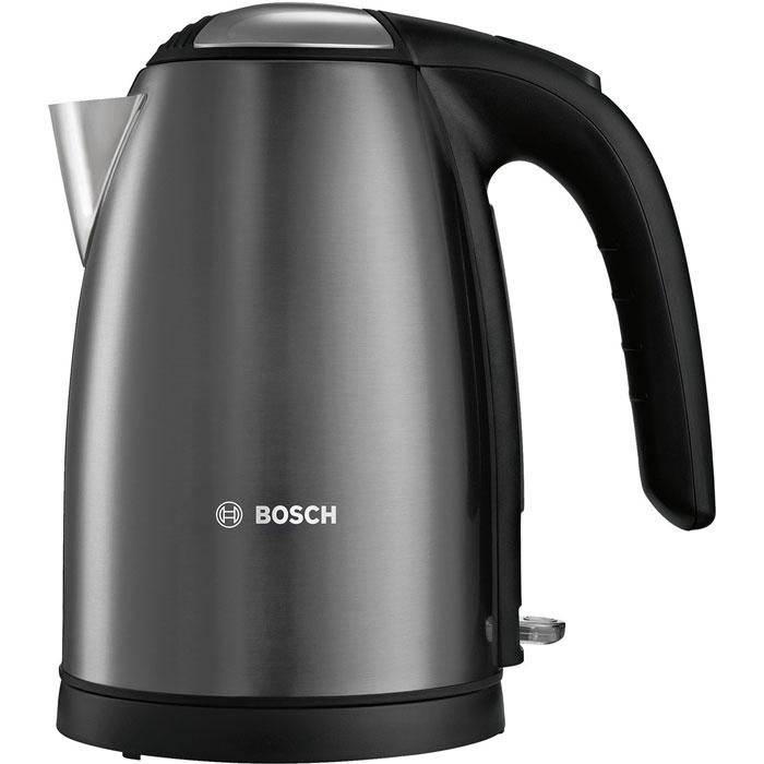 Bosch TWK7805, Black электрический чайникTWK7805Bosch TWK7805 - компактный и надежный электрический чайник со скрытым нагревательным элементом из нержавеющей стали. Прибор оснащен съемным фильтром от накипи, что позволяет существенно продлить срок его использования. Цоколь с поворотом на 360° имеет центральный контакт. Также удобство в использовании обеспечивают функция автовыключения и защита от перегрева.