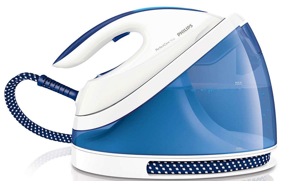 Philips GC7015/20 PerfectCare Viva парогенераторGC7015/20Парогенератор Philips ускоряет и упрощает процесс глажения. Благодаря революционной технологии OptimalTEMP больше нет необходимости регулировать температуру глажения.Глажение любых тканей — от джинсовых до шелковых — без регулировки температуры:Теперь можно гладить любые ткани (допускающие глажение) — от джинсовых до шелковых — без температурных настроек и без риска прожечь ткань. Компактный, удобный в хранении парогенератор оснащен революционными технологиями: 1) улучшенный процессор Smart Control с точностью регулирует температуру подошвы. Вам не придется настраивать температуру самостоятельно;2) компактное паровое устройство ProVelocity генерирует больше пара для более быстрого глажения.Экономия энергии при помощи ЭКОРЕЖИМА:Используя ЭКОРЕЖИМ с уменьшенным количеством пара, можно сэкономить энергию и сохранить отличный результат глажения. Для ускорения работы включите турборежим, при котором генерируется больше пара.Можно безопасно оставлять утюг с нагретой подошвой на гладильной доске:Инновационная технология OptimalTEMP от Philips гарантирует безопасное глажение всех типов тканей (допускающих глажение) без риска прожечь ткань. Во время глажения нет необходимости возвращать утюг на базу — нагретую подошву можно спокойно оставлять на одежде или хлопковом покрытии гладильной доски. Технология защищает гладильную доску и допускающие глажение ткани от повреждений, а также обеспечивает удобство и уменьшение нагрузки на запястье.Готов к работе через 2 минуты с возможностью добавления воды в любое время:Готовность к работе за 2 минуты, возможность долива воды в любой момент глажения.Протестировано и одобрено независимыми экспертами по тканям:Утюг протестирован и одобрен независимыми экспертами в области текстиля — DWI, IWTO и Woolmark. Программа Woolmark Apparel Care помогает потребителям выбрать качественные средства для ухода за одеждой, которые были одобрены компанией Woolmark для использования с изделиями из 