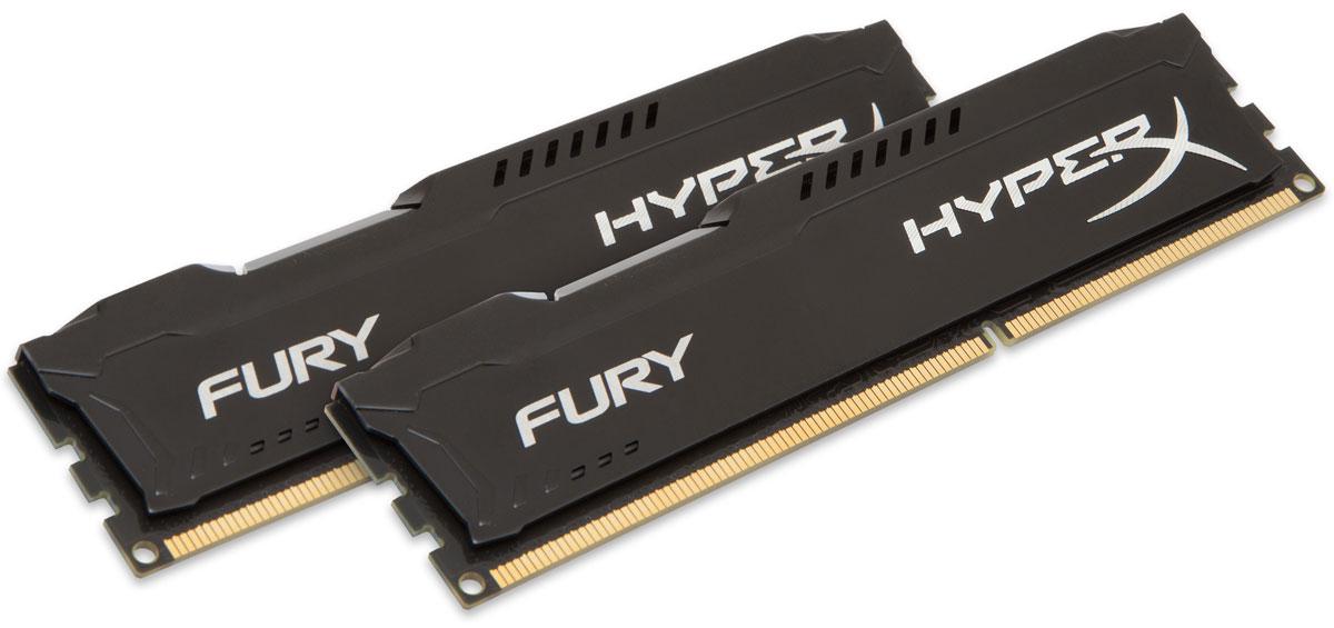 Kingston HyperX Fury DDR3 1866 МГц 2х8GB, Black комплект оперативной памяти (HX318C10FBK2/16)HX318C10FBK2/16Модули памяти Kingston HyperX FURY DDR3 автоматически разгоняются до максимальной заявленной частоты, а простота иавтоматическая конфигурируемость позволяют быстрее включаться в игру и мгновенно выходить на высочайшие скорости, необходимые для победы. Благодаря низкому напряжению (от 1,35 В) потребляется меньше энергии и выделяется меньше тепла, при этом поддерживаются новые чипсеты Intel 100 Series. Ассиметричный и агрессивный дизайн модулей, а также высококачественный алюминий и граненая отделка позволят вам выделиться среди стандартных квадратных конструкций.