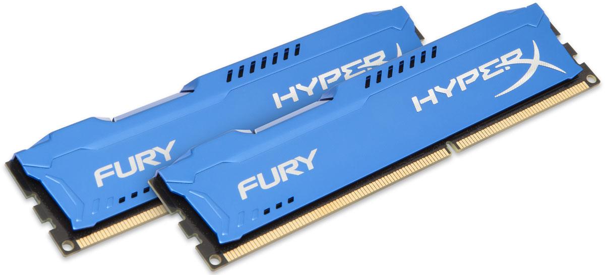 Kingston HyperX Fury DDR3 1600 МГц 2x4GB, Blue комплект оперативной памяти (HX316C10FK2/8)HX316C10FK2/8Комплект оперативной памяти Kingston HyperX Fury обеспечивает увеличенную рабочую частоту (по сравнению с DDR2) при сниженном тепловыделении и экономном энергопотреблении. Напряжение питания при работе составляет 1,5 В. В модуле также имеется 8 чипов с односторонним расположением.Общий объем памяти 8 ГБ позволит свободно работать со стандартными, офисными и профессиональными программами, а также современными требовательными играми. Работа осуществляется при тактовой частоте 1600 МГц и пропускной способности, достигающей до 12800 Мб/с, что гарантирует качественную синхронизацию и быструю передачу данных, а также возможность выполнения множества действий в единицу времени. Параметры тайминга 10-10-10 гарантируют быструю работу системы.Долгий срок использования устройства возможен благодаря качественным компонентам, которые встраиваются в конструкцию памяти. Асимметричный радиатор предохраняет от перегрева памяти, обеспечивая отвод тепла.