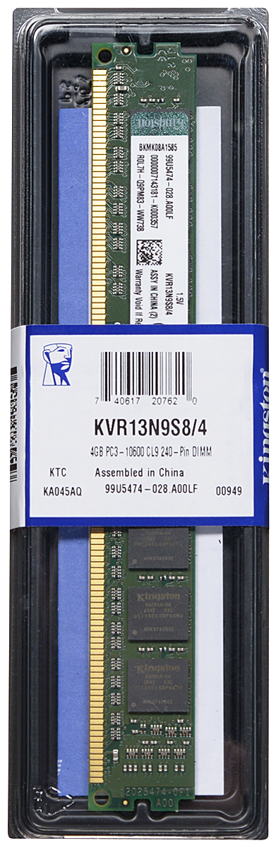 Kingston DDR3 4GB 1333 МГц модуль оперативной памяти (KVR13N9S8/4)KVR13N9S8/4Модуль оперативной памяти Kingston типа DDR3 обеспечивает увеличенную рабочую частоту (по сравнению с DDR2) при сниженном тепловыделении и экономном энергопотреблении. Напряжение питания при работе составляет 1,5 В. В модуле также имеется 8 чипов с односторонним расположением.Объем памяти 4 ГБ позволит свободно работать со стандартными, офисными и ресурсоемкими программами, а также современными нетребовательными играми. Работа осуществляется при тактовой частоте 1333 МГц и пропускной способности, достигающей до 10600 Мб/с, что гарантирует качественную синхронизацию и быструю передачу данных, а также возможность выполнения множества действий в единицу времени. Параметры тайминга 9-9-9 не принижают скорости работы системы.ValueRAM Kingston – это модули памяти, изготовленные в соответствии с отраслевыми стандартами, обеспечивающие непревзойденную производительность и отличающиеся легендарной надежностью Kingston.