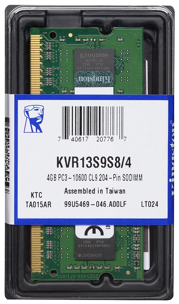 Kingston DDR3 4GB 1333 МГц модуль оперативной памяти (KVR13S9S8/4)KVR13S9S8/4Модуль оперативной памяти Kingston типа DDR3 для ноутбуков обеспечивает увеличенную рабочую частоту (по сравнению с DDR2) при сниженном тепловыделении и экономном энергопотреблении. Напряжение питания при работе составляет 1,5 В. В модуле также имеется 8 чипов с двухсторонним расположением.Объем памяти 4 ГБ позволит свободно работать со стандартными, офисными и ресурсоемкими программами, а также современными нетребовательными играми. Работа осуществляется при тактовой частоте 1333 МГц и пропускной способности, достигающей до 10666 Мб/с, что гарантирует качественную синхронизацию и быструю передачу данных, а также возможность выполнения множества действий в единицу времени. Параметры тайминга 9-9-9 не принижают скорости работы системы.ValueRAM Kingston - это модули памяти, изготовленные в соответствии с отраслевыми стандартами, обеспечивающие непревзойденную производительность и отличающиеся легендарной надежностью Kingston.