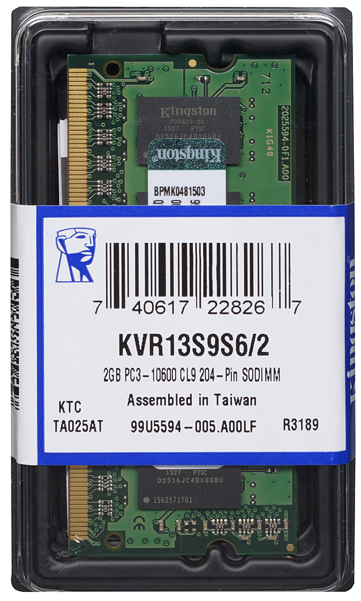 Kingston DDR3 2GB 1333 МГц модуль оперативной памяти (KVR13S9S6/2)KVR13S9S6/2Модуль оперативной памяти Kingston типа DDR3 для ноутбуков обеспечивает увеличенную рабочую частоту (по сравнению с DDR2) при сниженном тепловыделении и экономном энергопотреблении. Напряжение питания при работе составляет 1,5 В. В модуле также имеется 4 чипа с односторонним расположением.Объем памяти 2 ГБ позволит свободно работать со стандартными и офисными программами, а также нетребовательными играми. Работа осуществляется при тактовой частоте 1333 МГц и пропускной способности, достигающей до 10600 Мб/с, что гарантирует качественную синхронизацию и быструю передачу данных, а также возможность выполнения множества действий в единицу времени. Параметры тайминга 9-9-9 не принижают скорости работы системы.