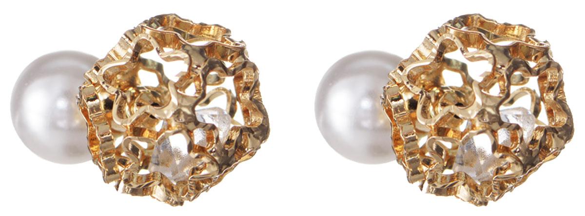 Серьги Taya, цвет: золотистый, белый. T-B-10509Ажурная брошьЭлегантные серьги современного дизайна Taya изготовлены металлического сплава. С одной стороны серьги выполнены в виде полого шара, собранного из звездочек, внутри которого свободно перемещается прозрачный кристалл. Другая сторона сережек оформлена крупной жемчужиной из пластика. Можно переворачивать серьги и носить той стороной, которая именно сегодня подходит под Вашу одежду.В качестве основания изделия используется замок-гвоздик, который надежно зафиксирует сережку.Элегантные серьги помогут дополнить любой образ и привнести в него завершающий яркий штрих.
