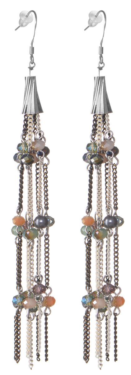 Серьги Taya, цвет: серебряный, черный, белый. T-B-9071Серьги с подвескамиОригинальные серьги Taya изготовлены из металлического сплава и дополнены оригинальными подвесками из мелких цепочек, которые оформлены гранеными бусинками из стекла.В качестве основания изделия используется замок-петля, который надежно зафиксирует сережку.Элегантные серьги помогут дополнить любой образ и привнести в него завершающий яркий штрих.